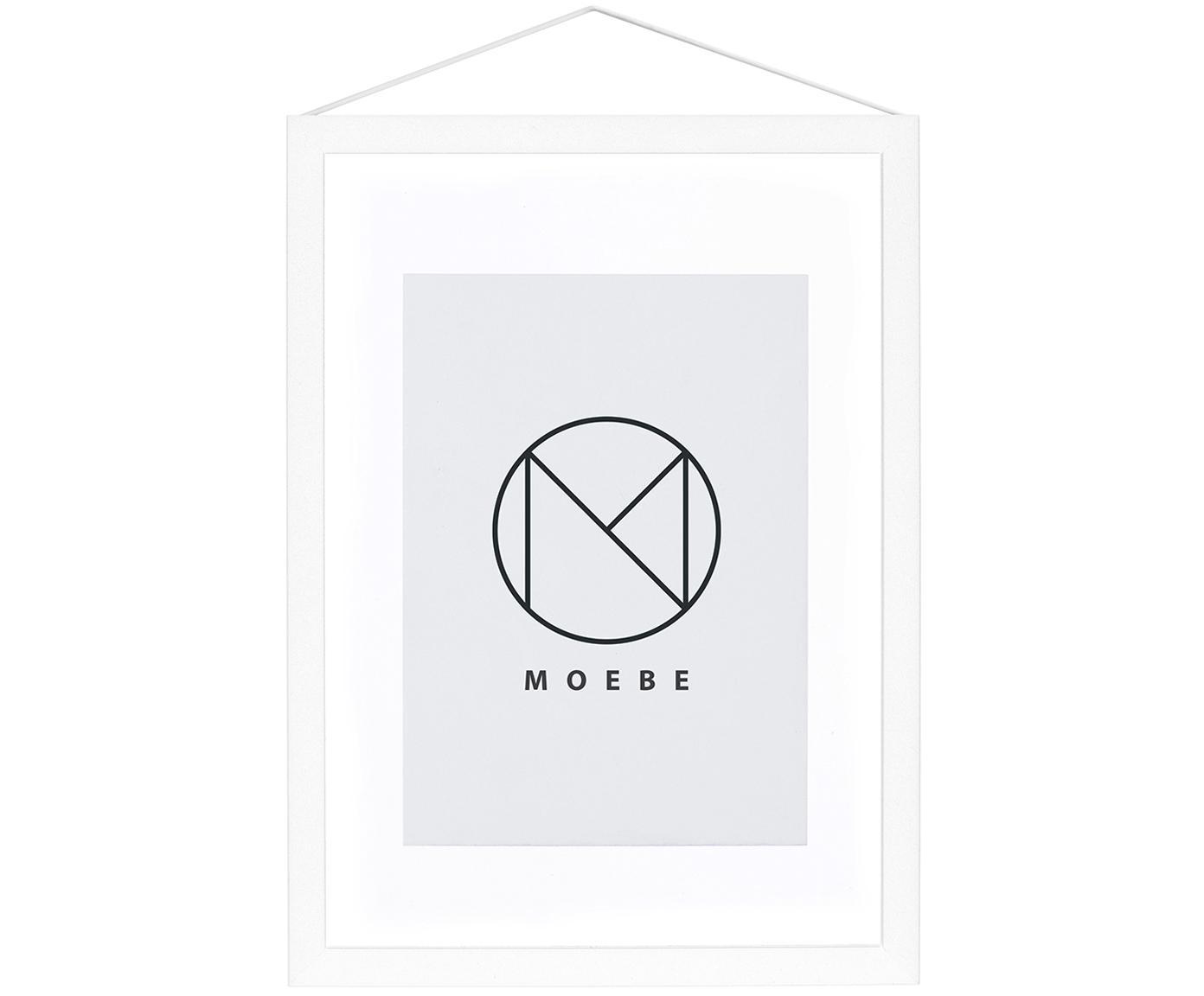 Fotolijstje Frame, Frame: gepoedercoat aluminium, Frame: wit. Ophanging: zwart. Front en achterkant: transparant, 17 x 23 cm