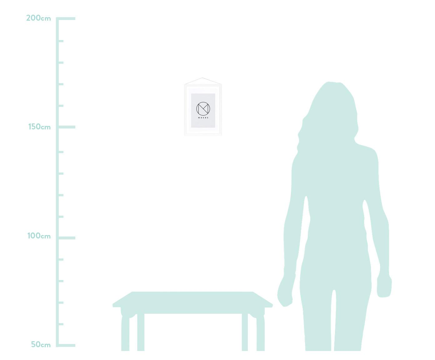 Cadre Frame, Cadre: blanc Suspension: noir Vitrage et envers: transparent