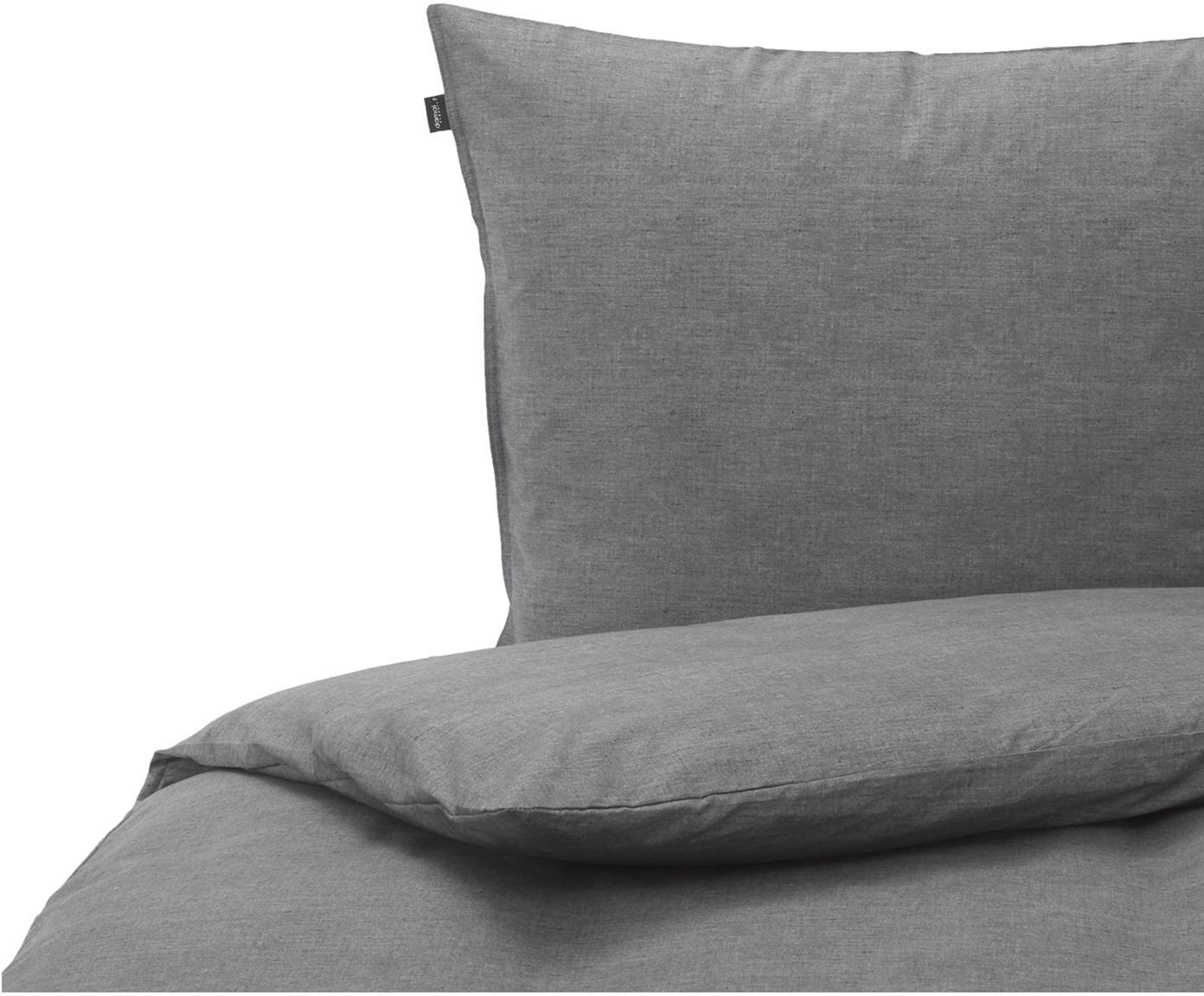 Bettwäsche Raja in Dunkelgrau aus Bio-Baumwolle, 100% Bio-Baumwolle  Fadendichte 120 TC, Standard Qualität  Bettwäsche aus Baumwolle fühlt sich auf der Haut angenehm weich an, nimmt Feuchtigkeit gut auf und eignet sich für Allergiker., Anthrazit, 135 x 200 cm + 1 Kissen 80 x 80 cm