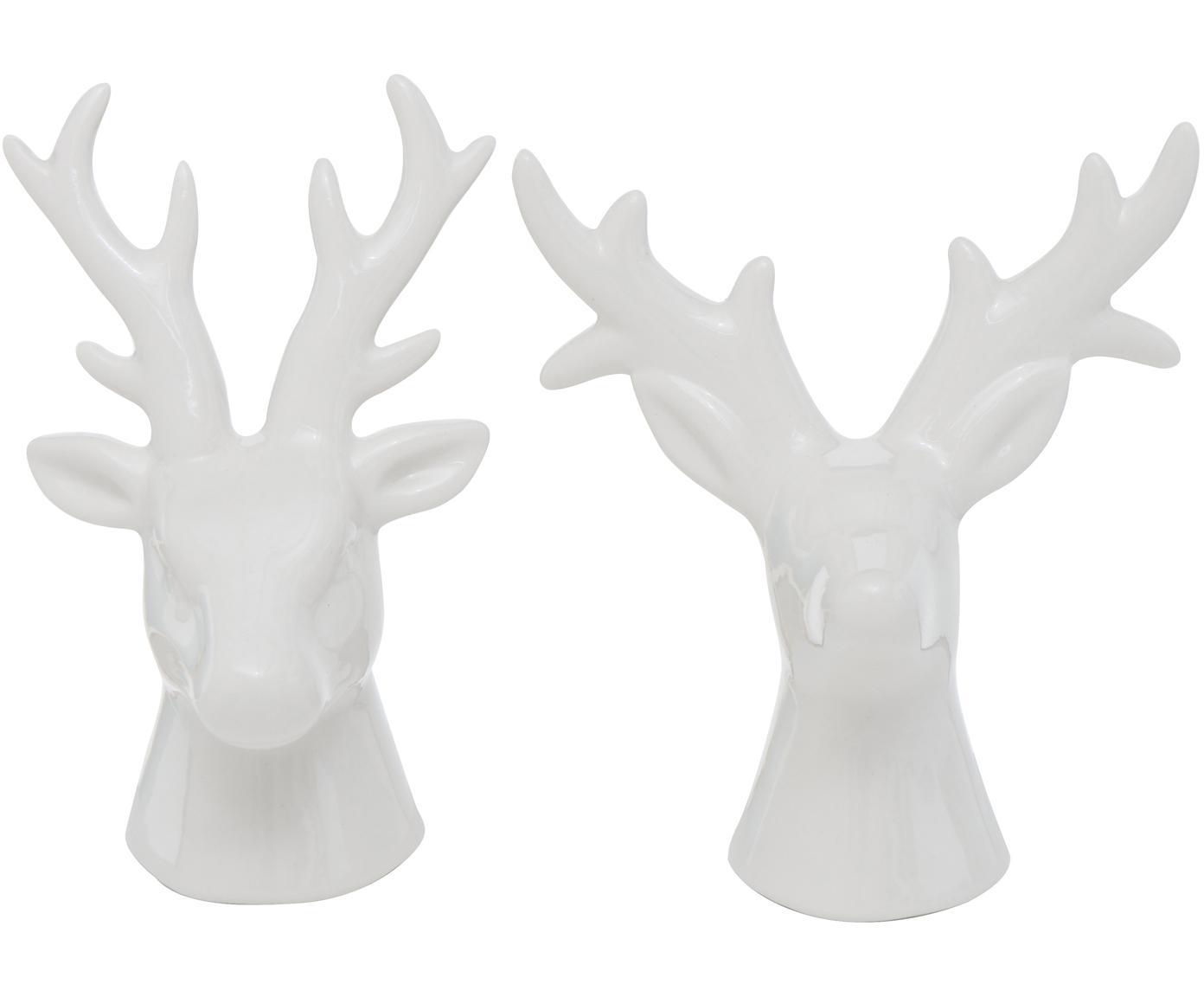 Set 2 oggetti decorativi Thore, Porcellana, Bianco, Larg. 11 x Alt. 12 cm