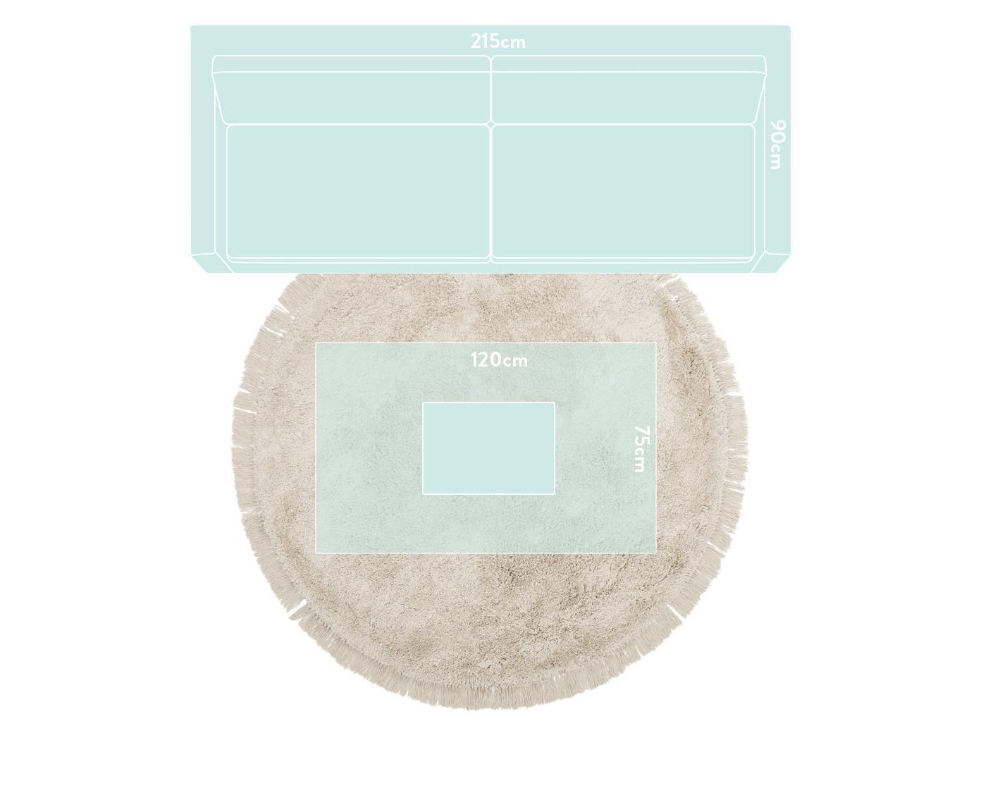 Tappeto a pelo lungo con frange Dreamy, Retro: 100% cotone, Crema, Ø 200 cm (taglia L)
