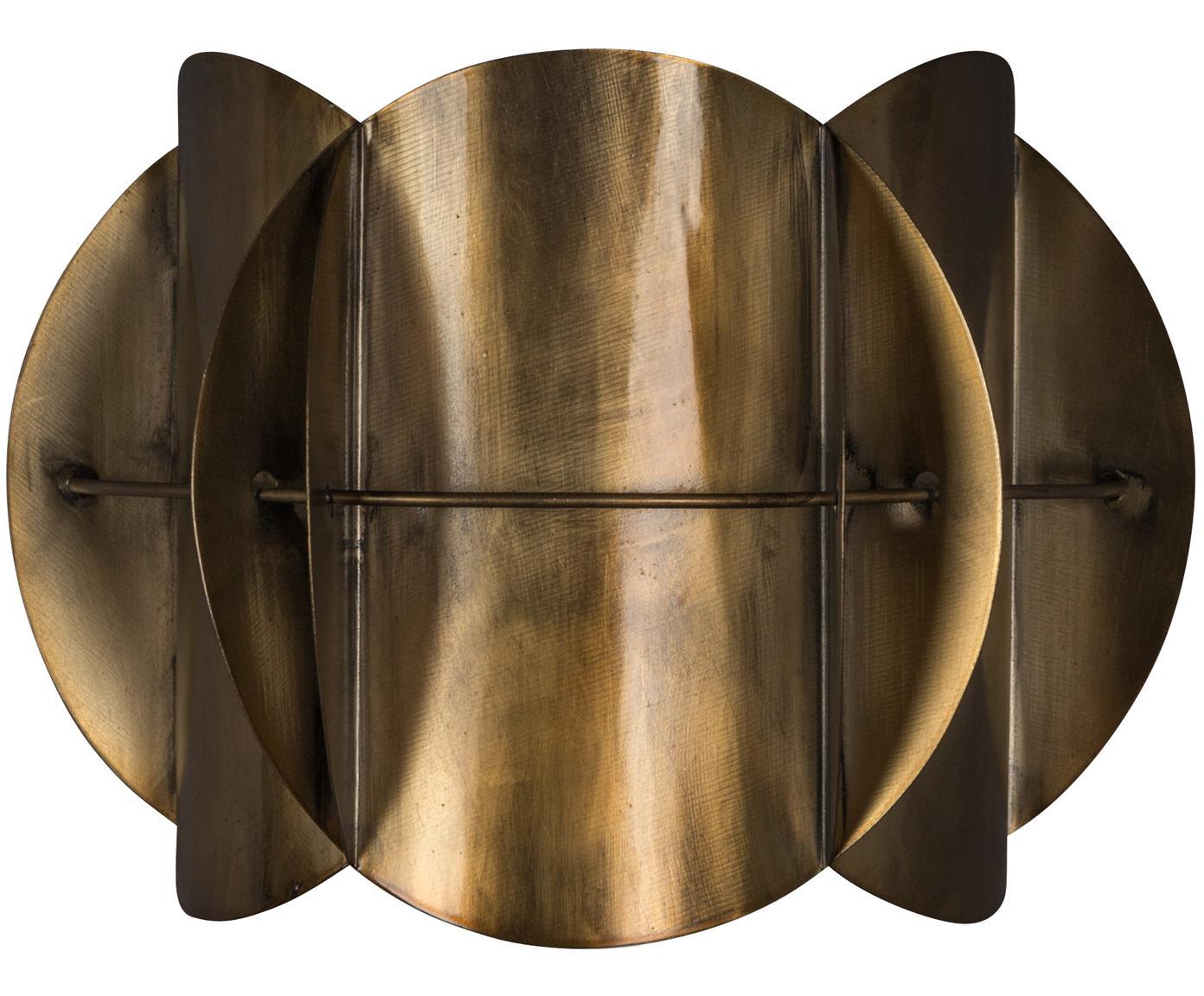 Applique Corridor, Paralume: ottone, Ottone con finitura anticata, Larg. 27 x Alt. 19 cm