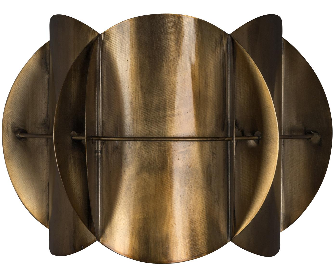 Wandlamp Corridor, Lampenkap: messing, Messingkleurig met antieke afwerking, 27 x 19 cm
