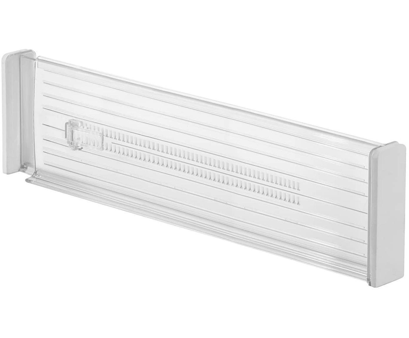 Organizadores de cajones Linus, 2 uds., Plástico, acero, Transparente, An 4 x F 53 cm