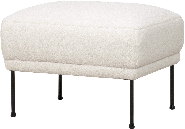 Poggiapiedi da divano in tessuto teddy bianco crema Fluente, Rivestimento: 100% poliestere (peluche), Struttura: legno di pino massiccio, Piedini: metallo, verniciato a pol, Tessuto bianco crema, Larg. 62 x Alt. 46 cm