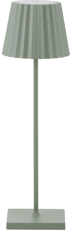 Mobile LED Außentischleuchte Trellia, Aluminium, lackiert, Grün, Ø 15 x H 38 cm