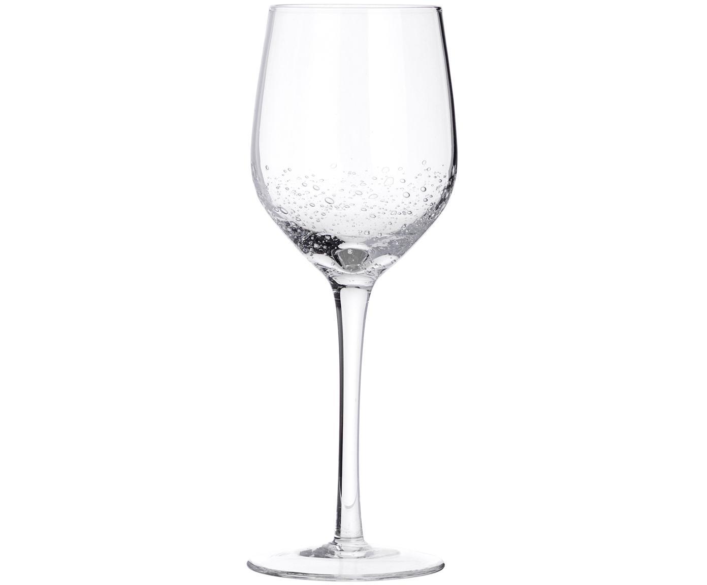 Copas de vino blanco de vidrio soplado Bubble, 4uds., Vidrio soplado artesanalmente, Transparente con burbujas de aire, Ø 8 x Al 21 cm