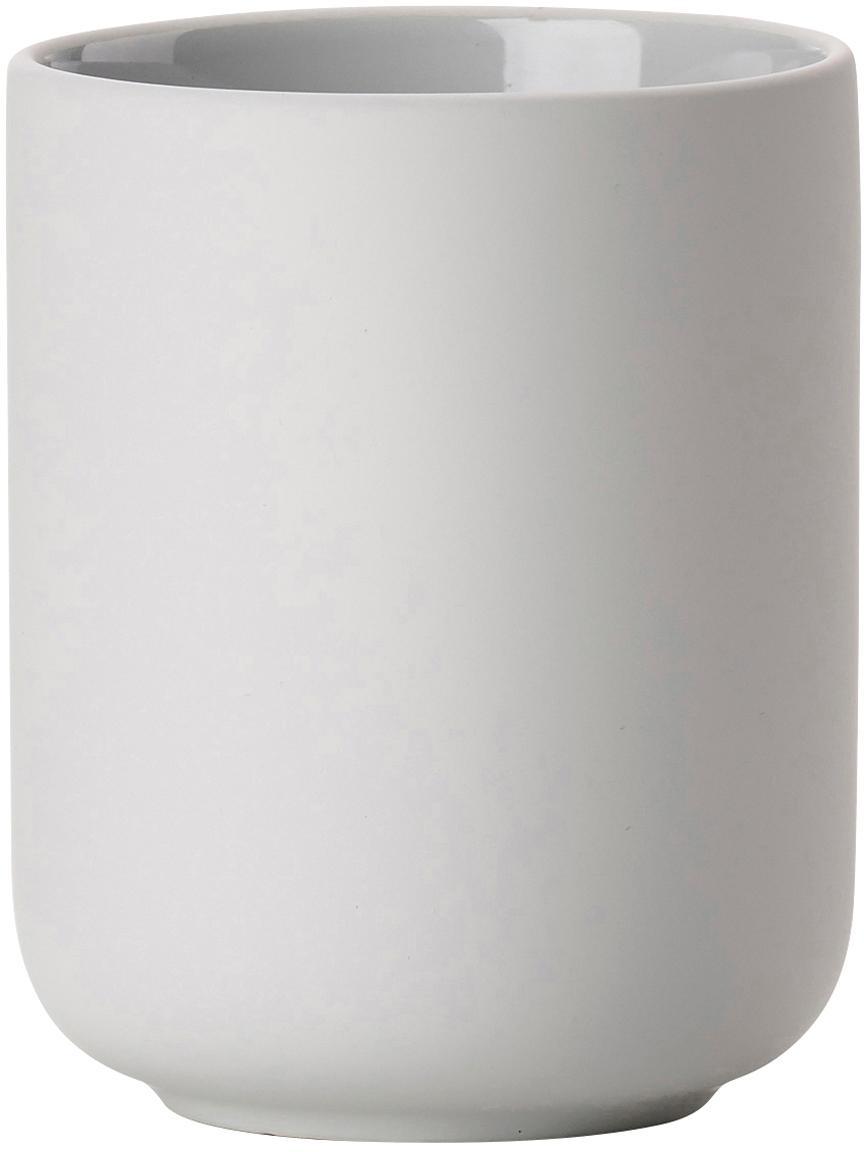 Zahnputzbecher Ume aus Steingut, Steingut überzogen mit Soft-touch-Oberfläche (Kunststoff), Hellgrau, Ø 8 x H 10 cm