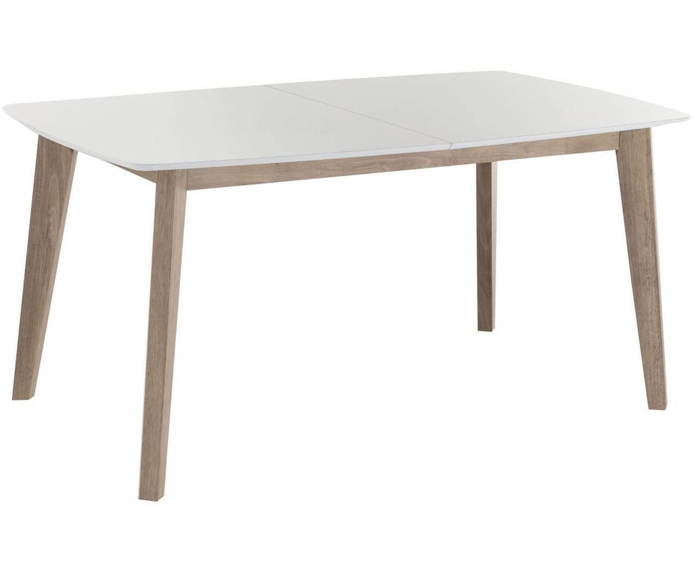 Mesa de comedor extensible Kyra, Tablero de fibras de densidad media (MDF), Blanco, beige, An 200 x Al 75 cm