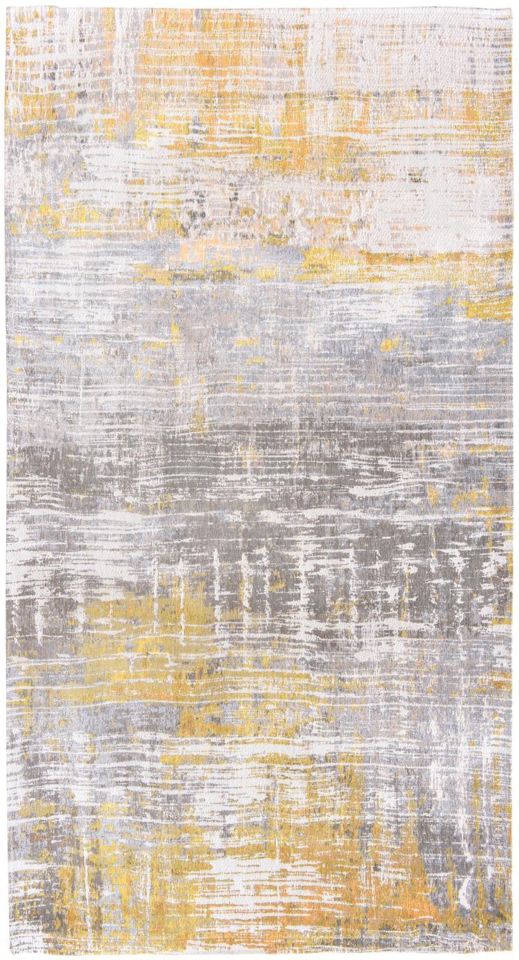 Design vloerkleed Streaks in grijs/geel, Bovenzijde: 85%katoen, 15%hoogglanz, Weeftechniek: jacquard, Onderzijde: katoenmix, gecoat met lat, Geel, grijs, wit, B 80 x L 150 cm (maat XS)