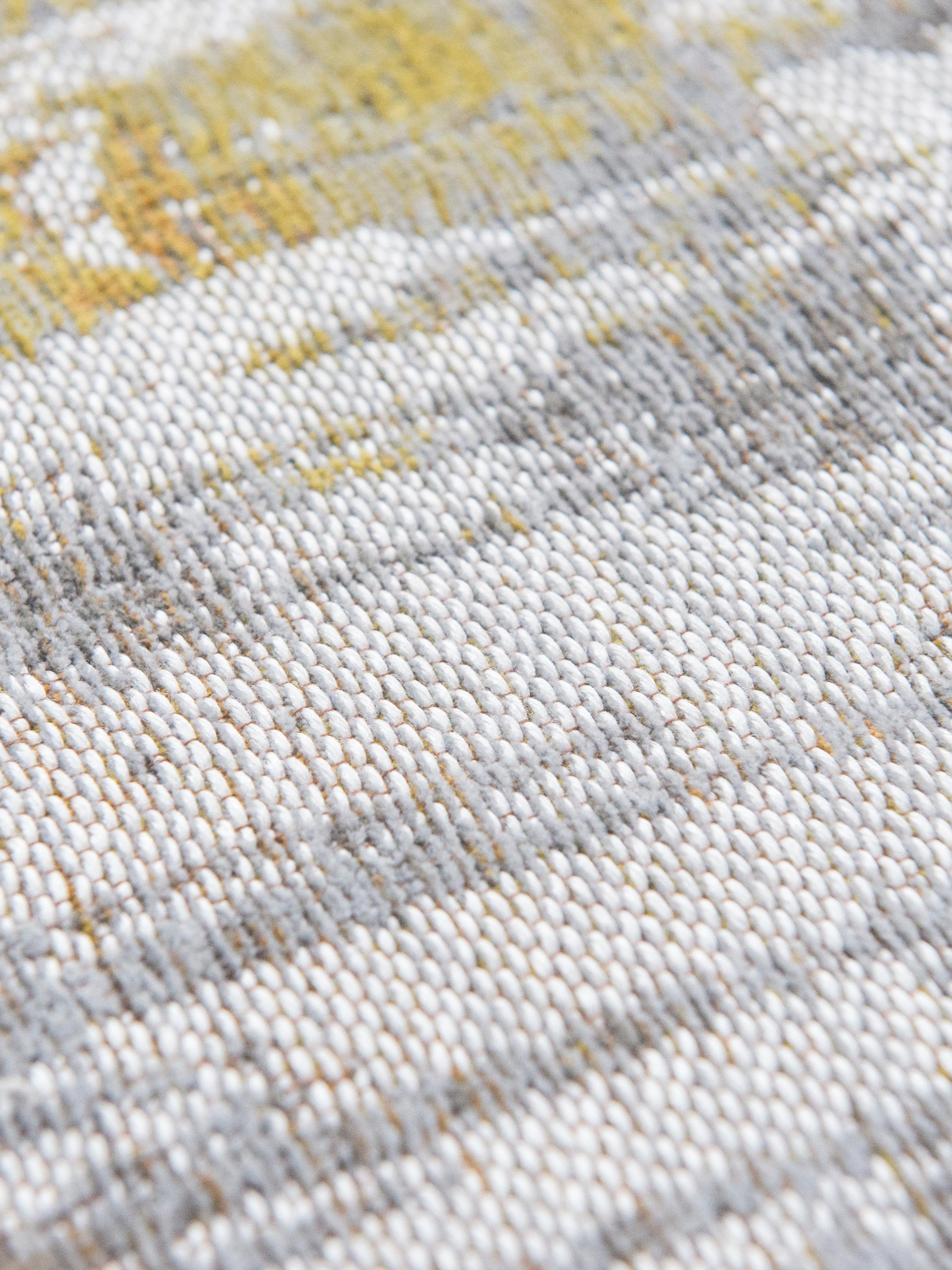 Design vloerkleed Streaks in grijs/geel, Bovenzijde: 85%katoen, 15%hoogglanz, Weeftechniek: jacquard, Onderzijde: katoenmix, gecoat met lat, Geel, grijs, wit, B 200 x L 280 cm (maat L)