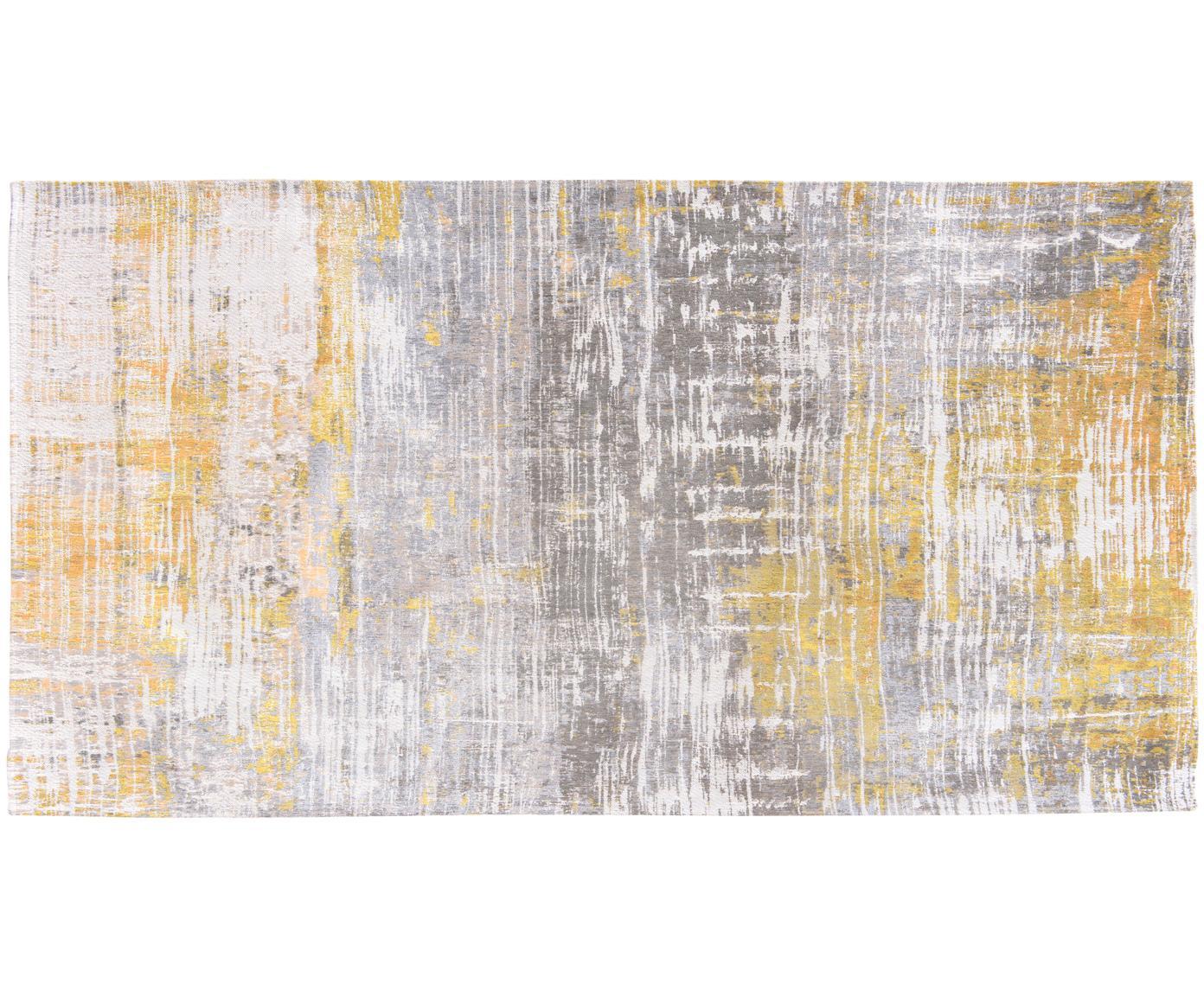 Design vloerkleed Streaks, Bovenzijde: 85%katoen, 15%hoogglanz, Weeftechniek: jacquard, Onderzijde: katoenmix, gecoat met lat, Geel, grijs, wit, B 80 x L 150 cm (maat XS)