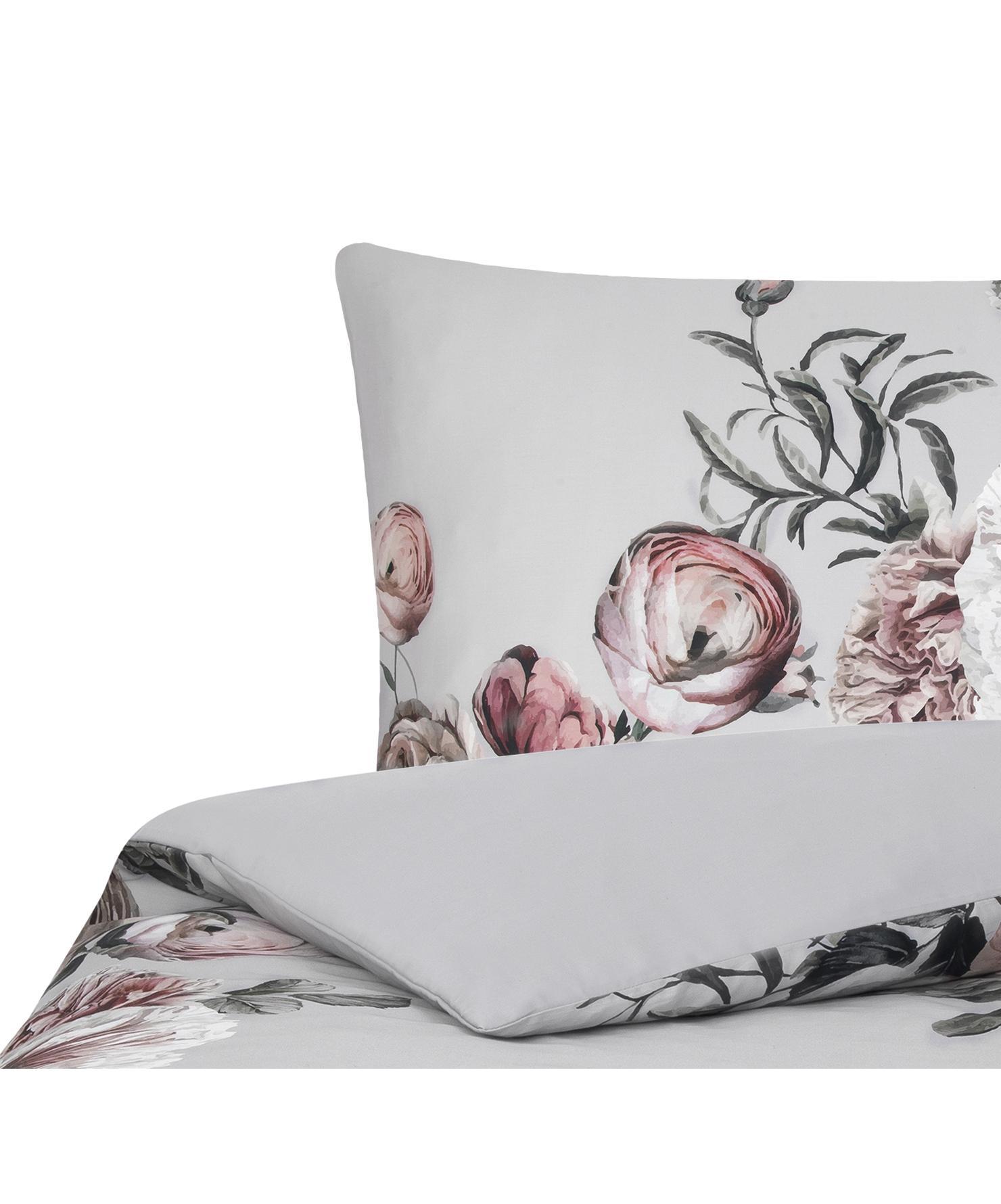 Baumwollsatin-Bettwäsche Blossom mit Blumen-Print, Webart: Satin Fadendichte 210 TC,, Mehrfarbig, Grau, 155 x 220 cm + 1 Kissen 80 x 80 cm