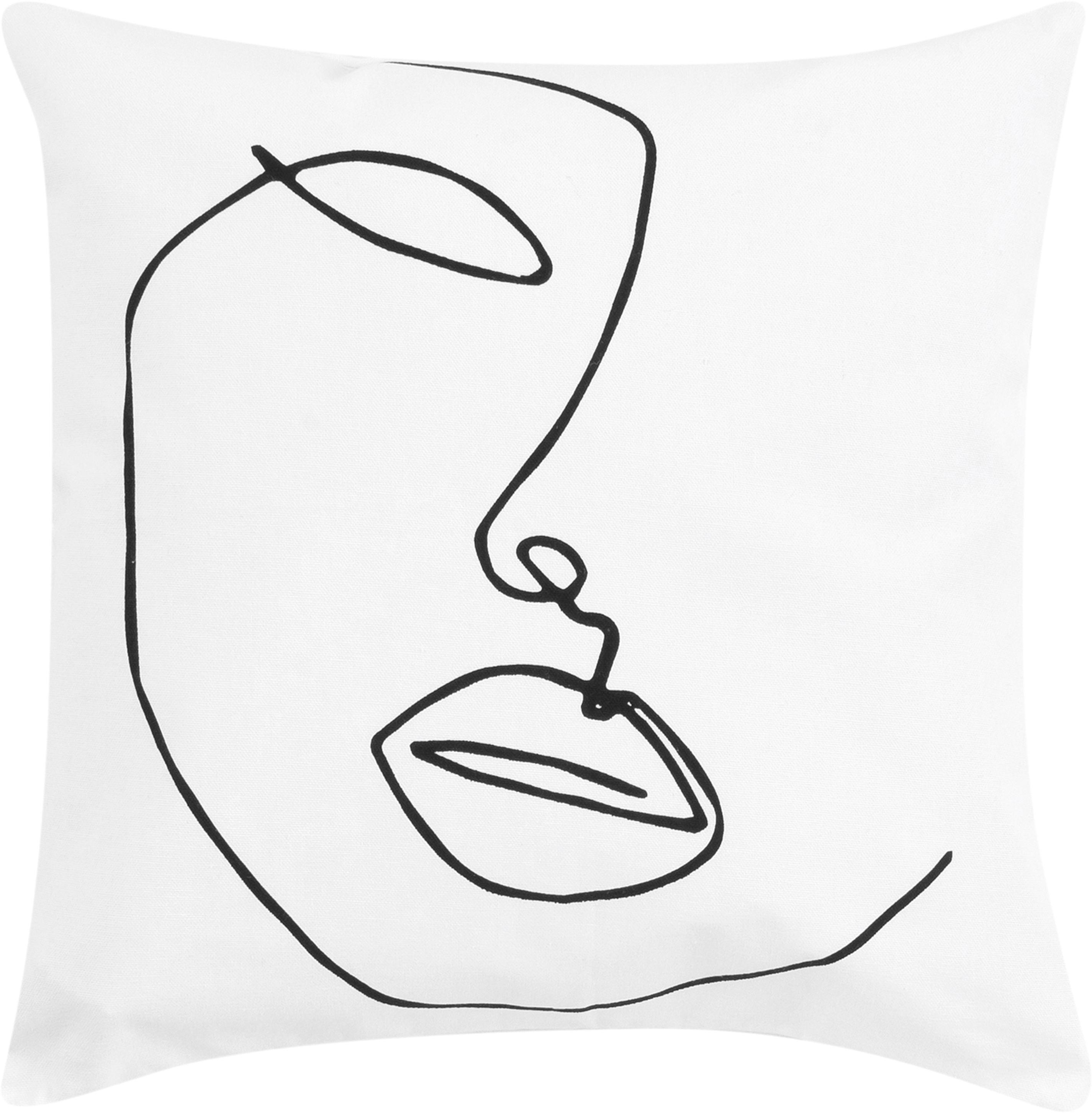 Kissenhülle Ariana mit abstrakter One Line Zeichnung, Webart: Panama, Weiß, Schwarz, 40 x 40 cm