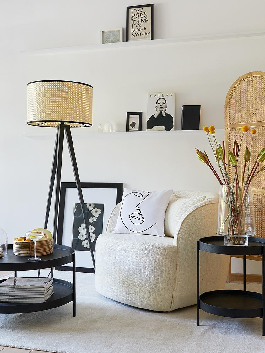 Kussenhoes Ariana met abstracte One Line tekening, Weeftechniek: panama, Wit, zwart, 40 x 40 cm