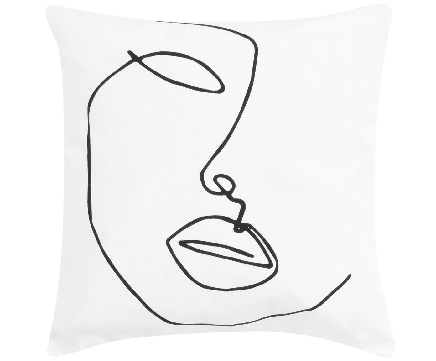 Federa arredo con disegno astratto Ariana, Bianco, nero, Larg. 40 x Lung. 40 cm
