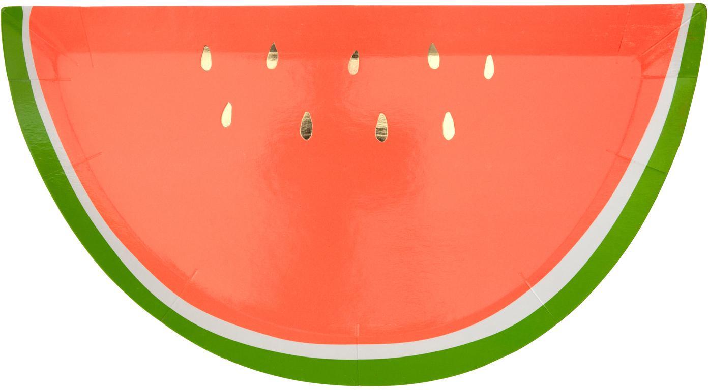 Papier-Teller Watermelon, 8 Stück, Papier, foliert, Rot, Grün, Goldfarben, B 28 x T 15 cm