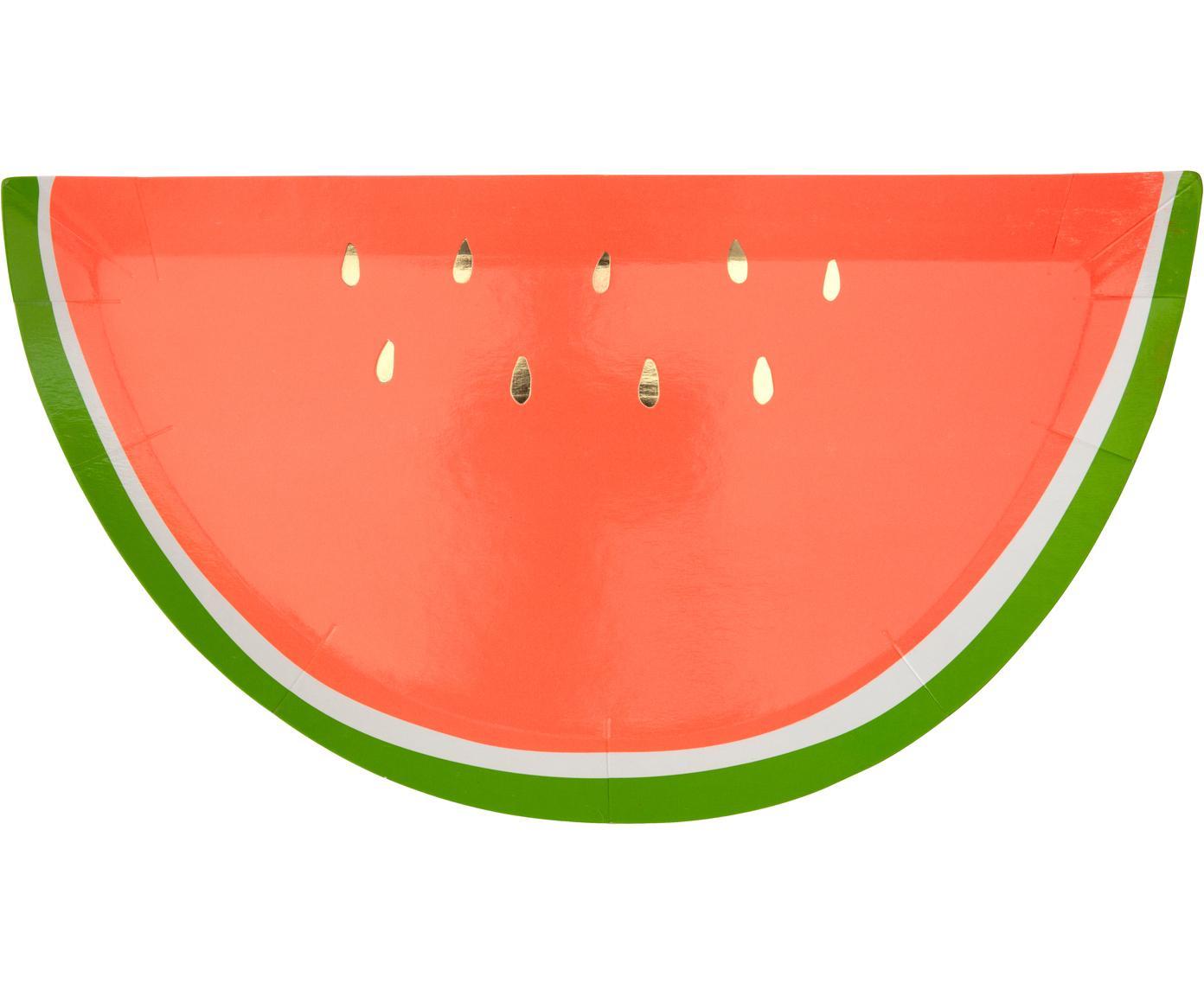 Papieren borden Watermelon, 8 stuks, Gecoat papier, Rood, groen, goudkleurig, B 28 x D 15 cm