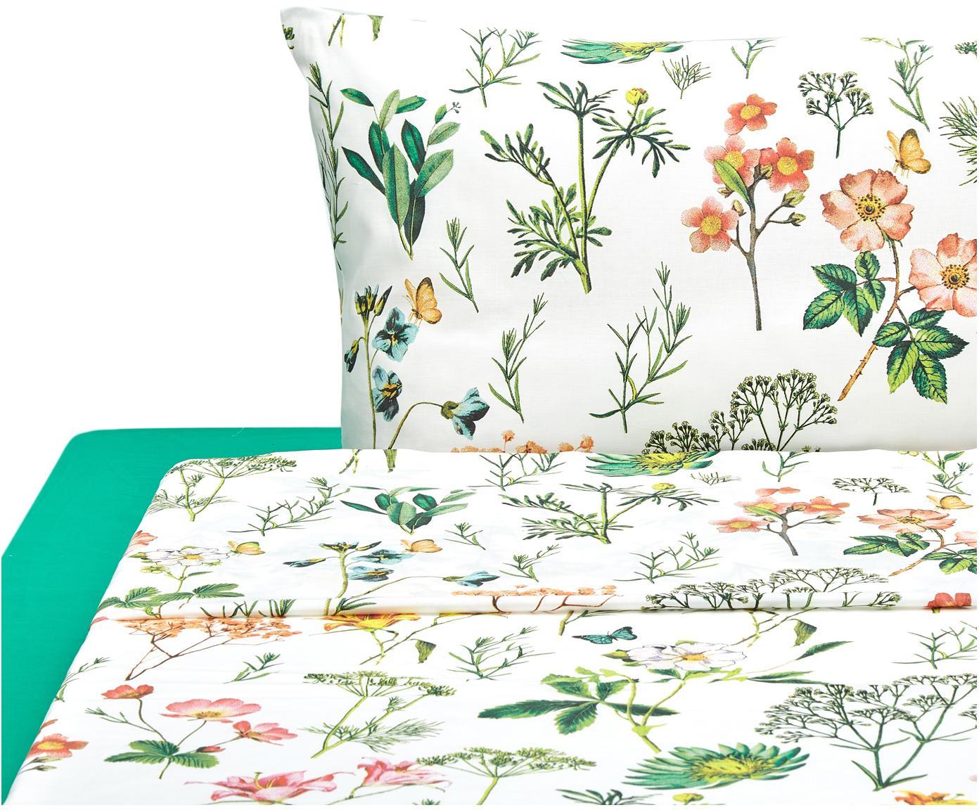 Completo letto Botanico, Cotone, Bianco, verde, multicolore, 150 x 280 cm
