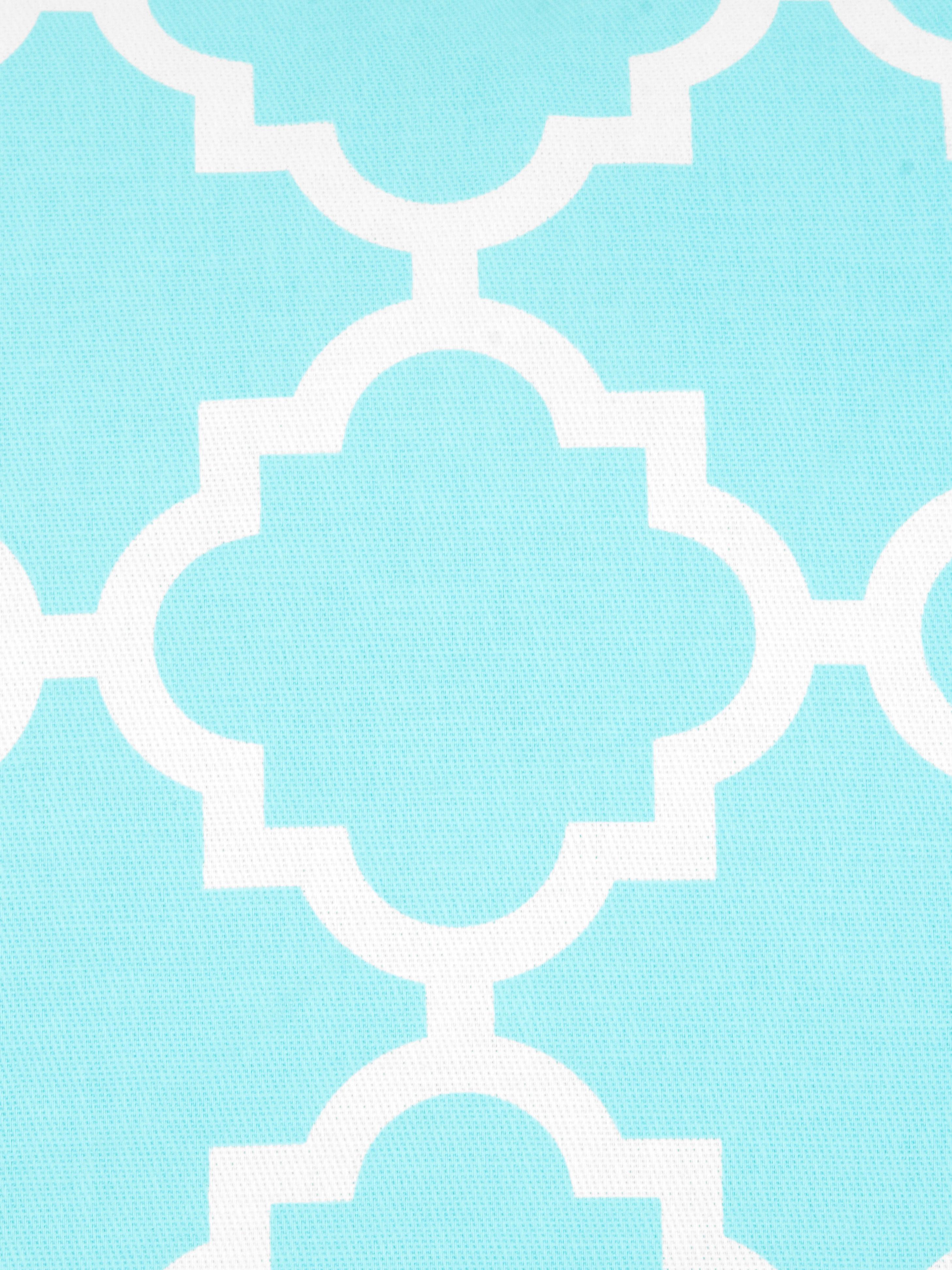 Kissenhülle Lana mit grafischem Muster, 100% Baumwolle, Türkis, Weiß, 30 x 50 cm
