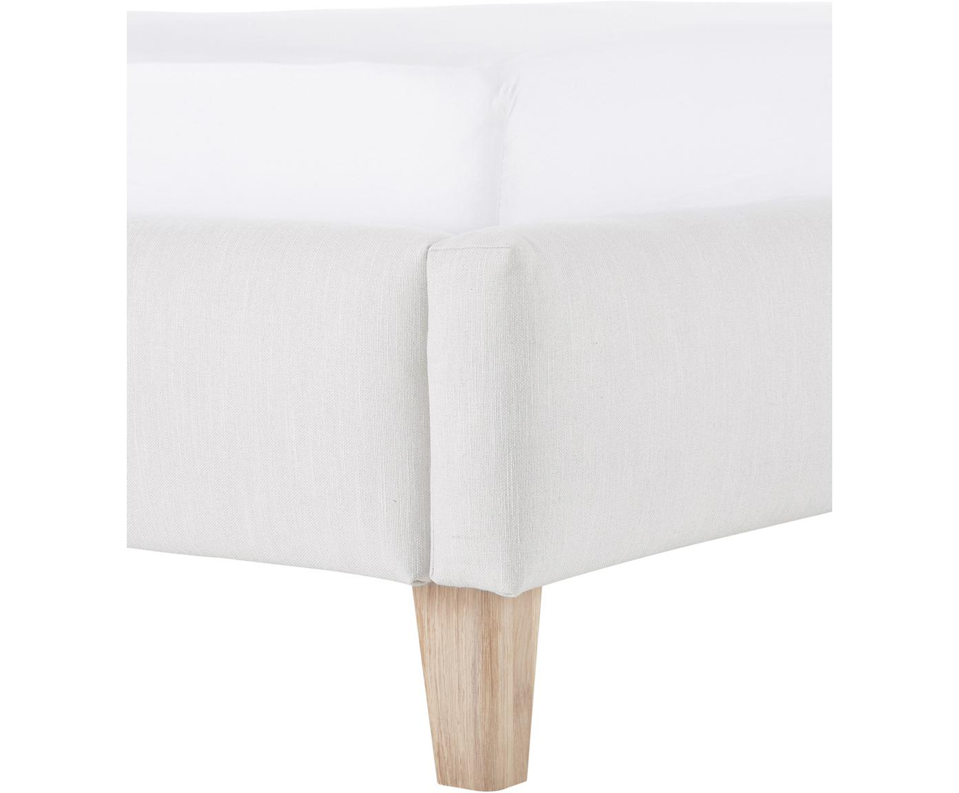 Letto matrimoniale imbottito Serene, Piedini: legno di quercia massicci, Rivestimento: Poliestere (tessuto strut, Tessuto grigio chiaro, 180 x 200 cm
