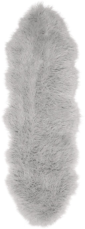 Kunstfell-Teppich Morten, gelockt, Vorderseite: 67% Acryl, 33% Polyester, Rückseite: Polyester, Hellgrau, 60 x 180 cm