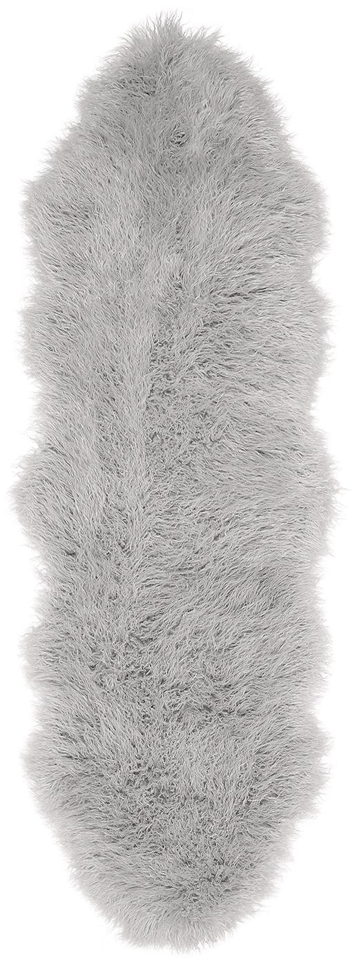 Alfombra de piel sintética Morten, rizada, Parte delantera: 67%acrílico, 33%poliést, Parte trasera: poliéster, Gris claro, An 60 x L 180 cm