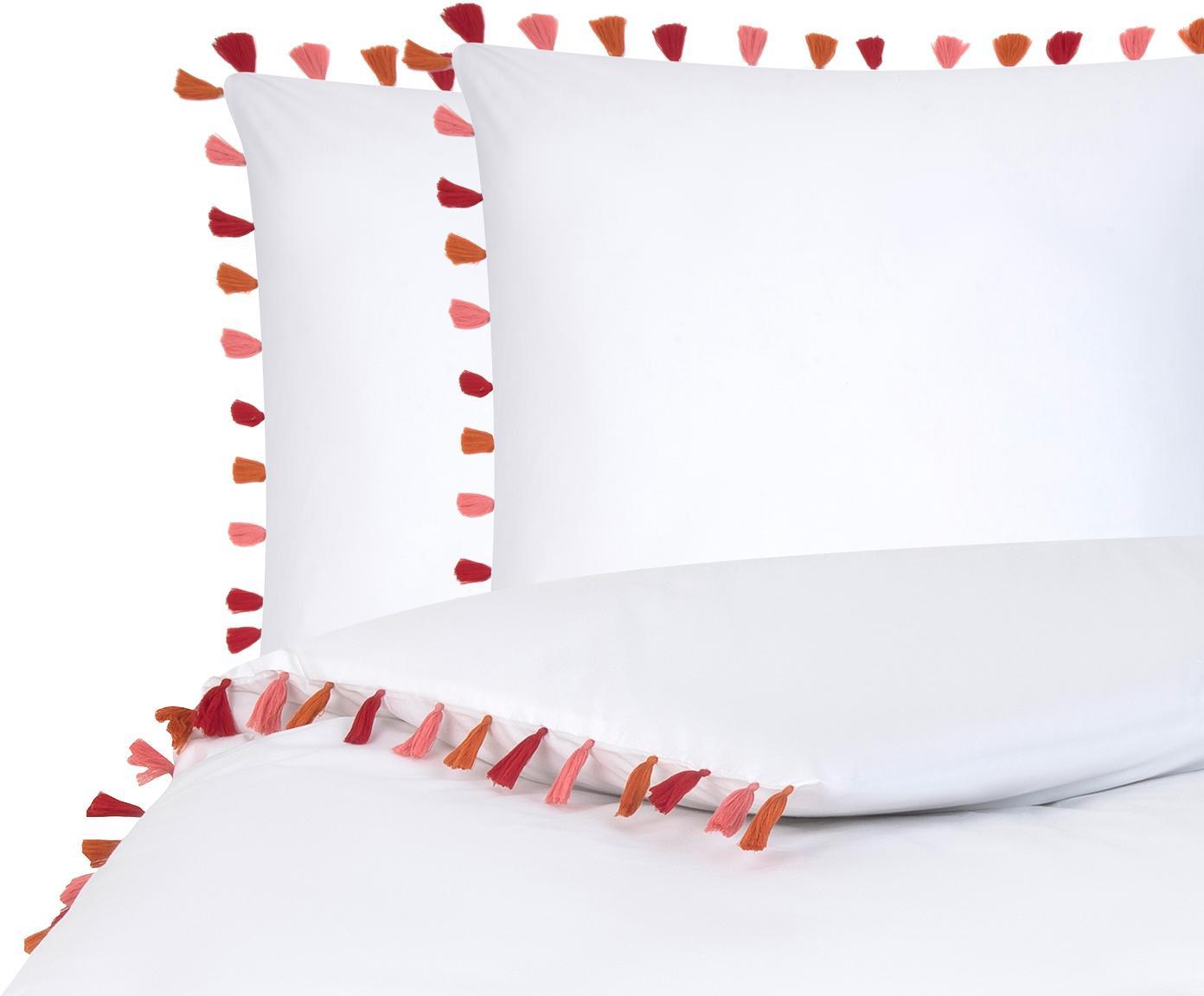 Baumwollperkal-Bettwäsche Quo mit Quasten, Webart: Perkal Fadendichte 200 TC, Weiß, Mehrfarbig, 200 x 200 cm + 2 Kissen 80 x 80 cm