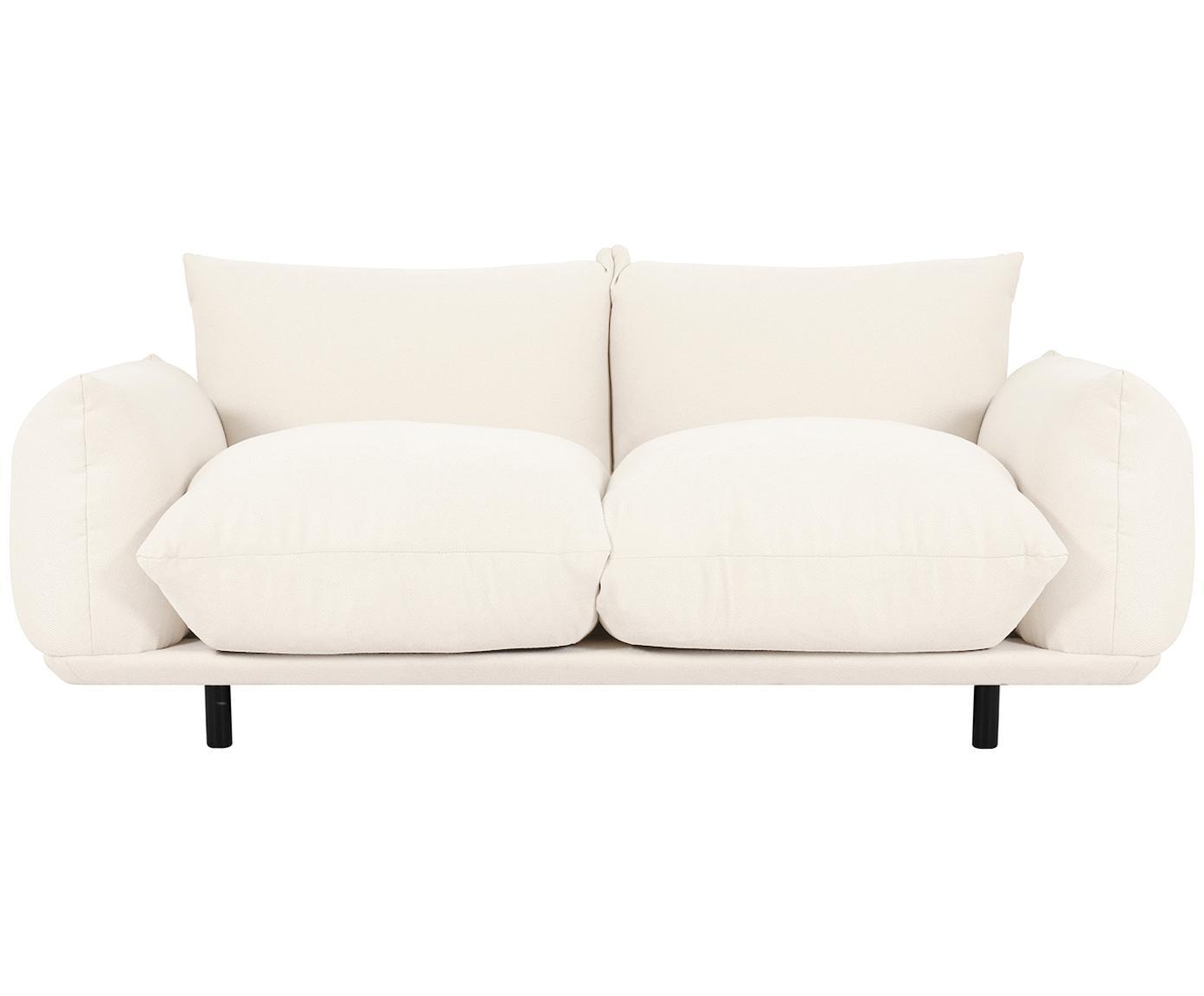 Bank Saga (3-zits), Bekleding: 100% polyester, Frame: massief berkenhout, Poten: gepoedercoat metaal, Beige, B 170 x D 103 cm
