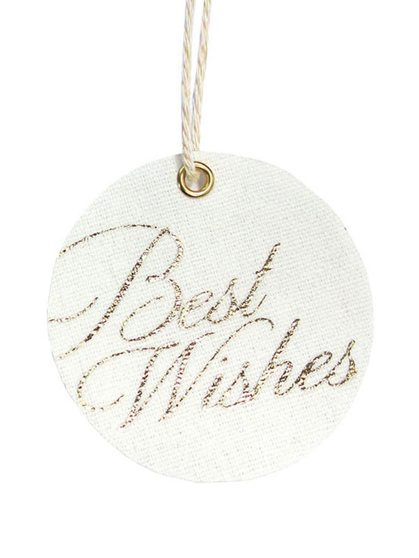 Geschenklabels set Best Wishes, 6 stuks, 60% katoen 40% polyester, Wit, goudkleurig, Ø 6 cm