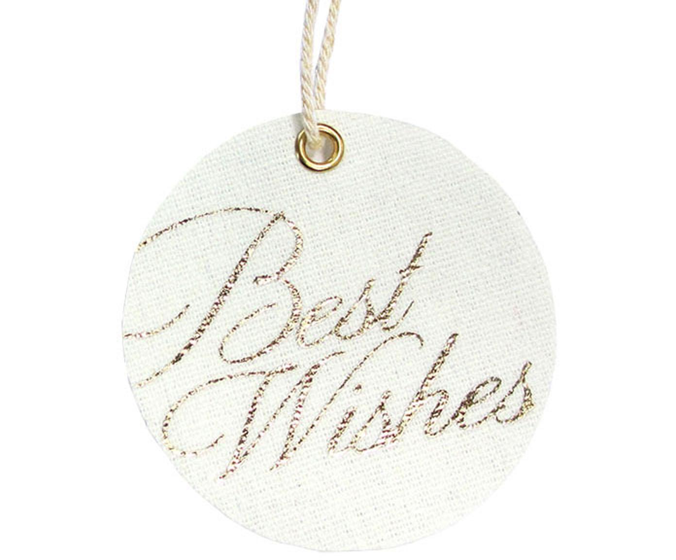 Etiquetas para regalo Best Wishes, 6uds., 60%poliéster, 40%algodón, Blanco, dorado, Ø 6 x Al 6 cm