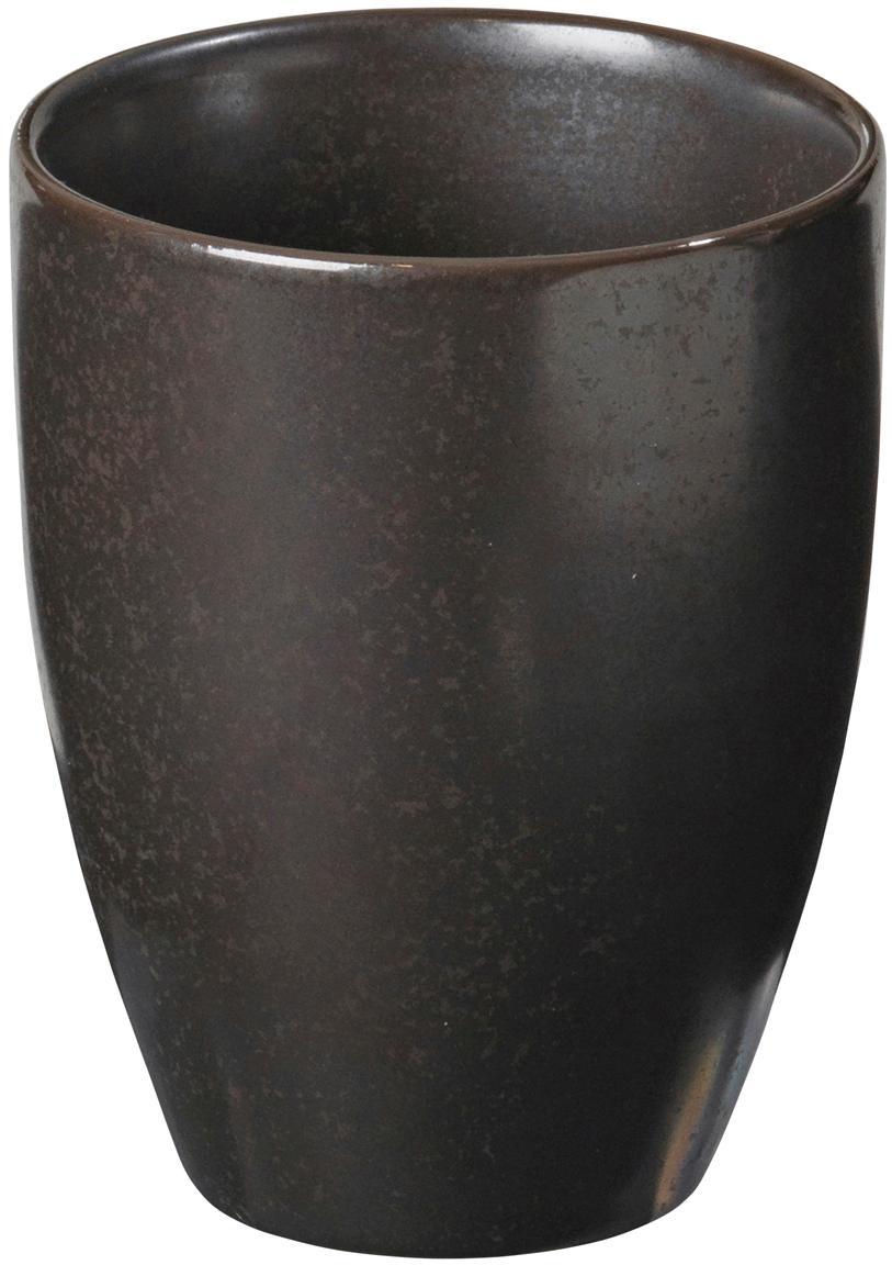 Tazza fatta a mano Esrum Night, 4 pz., Gres smaltata, Marrone grigiastro lucido argenteo opaco, Ø 8 x A 10 cm