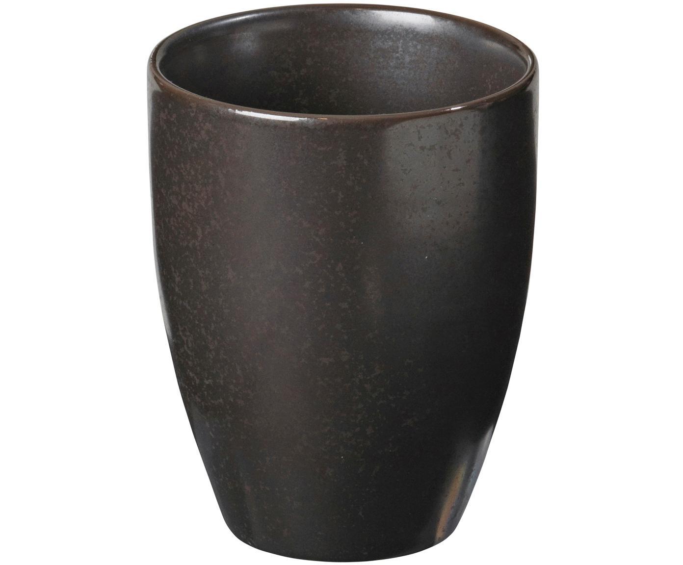 Handgemachte Becher Esrum Night, 4 Stück, Steingut, glasiert, Graubraun, matt silbrig schimmernd, Ø 8 x H 10 cm