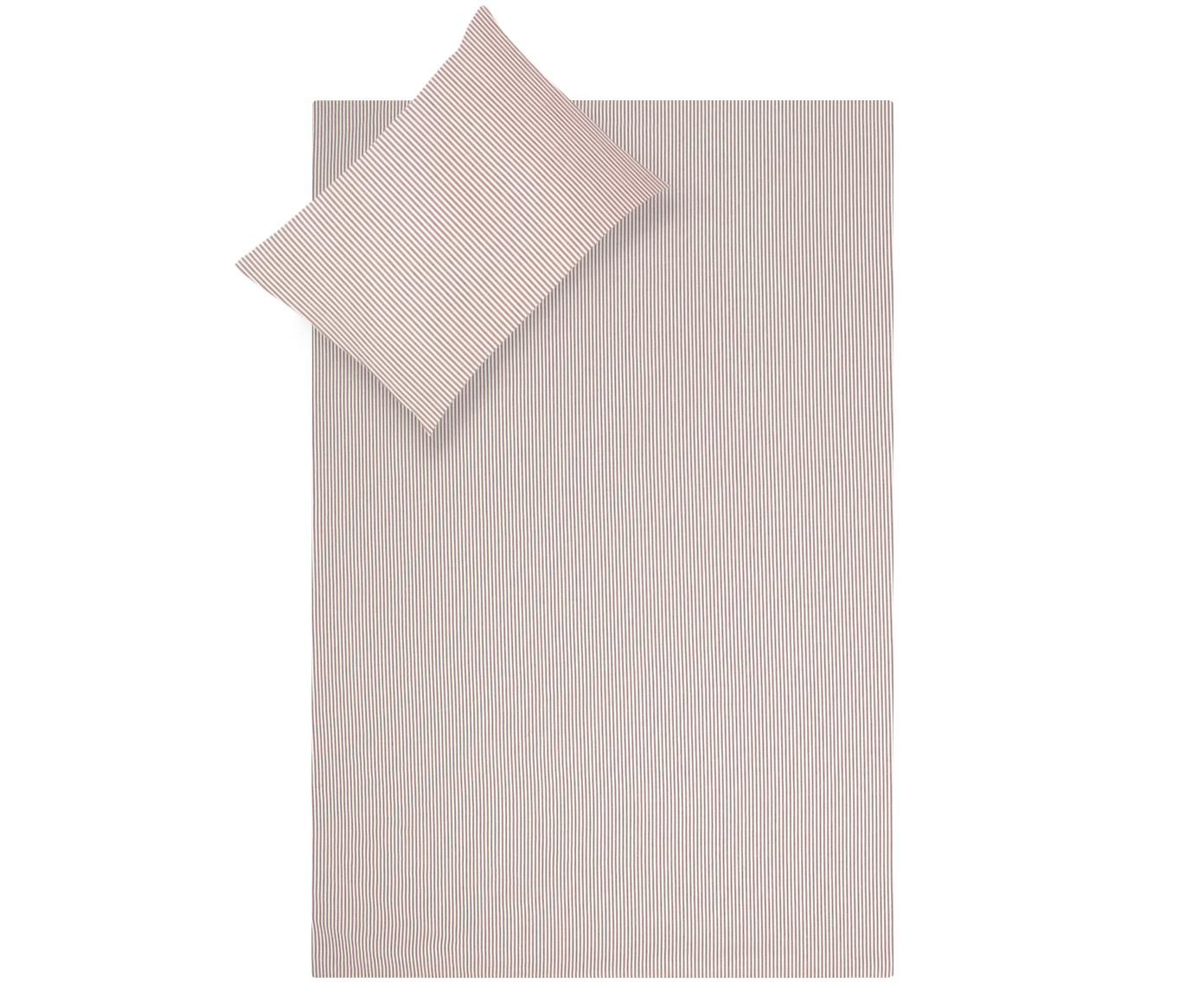 Parure copripiumino in cotone ranforce Ellie, Tessuto: Renforcé, Bianco, rosso, 155 x 200 cm