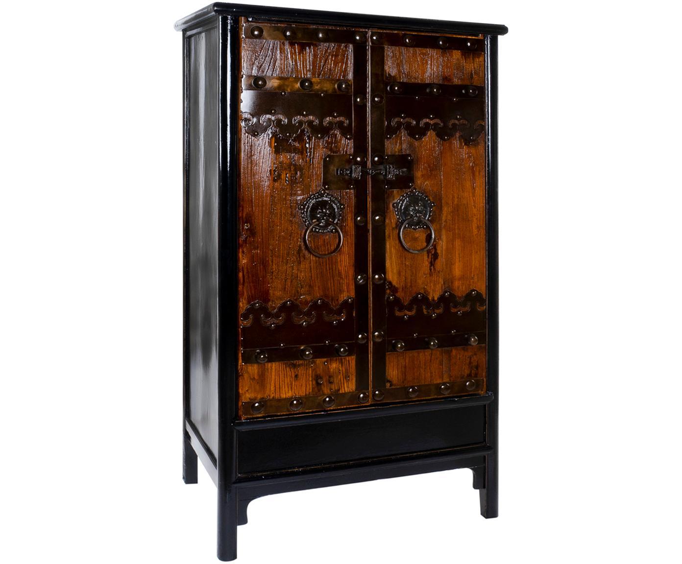 Armario Rustus, Estructura: madera de olmo, Negro, An 101 x Al 180 cm