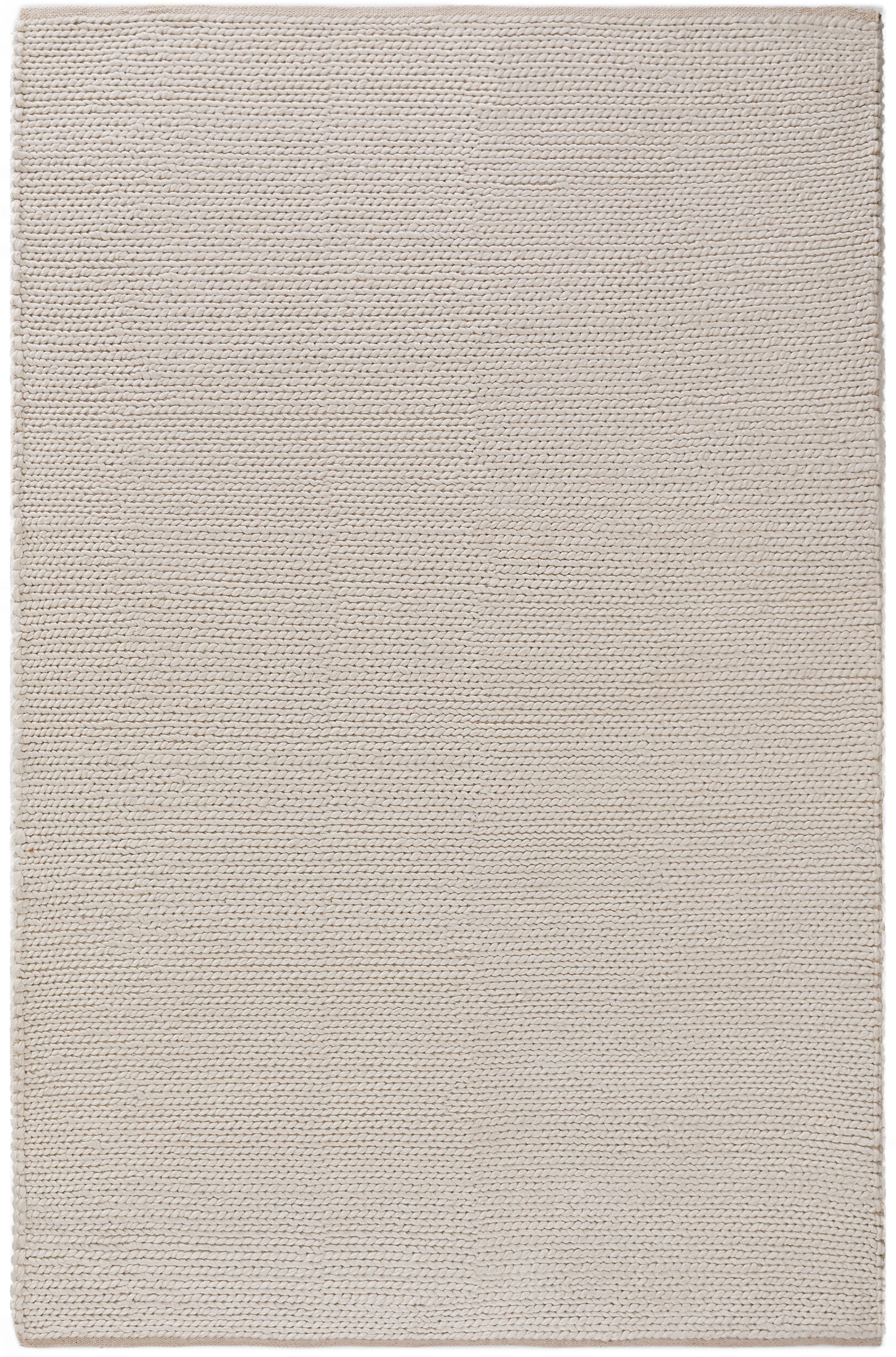 Handgewebter Wollteppich Uno in Creme mit geflochtener Struktur, Flor: 60% Wolle, 40% Polyester, Creme, B 160 x L 230 cm (Größe M)