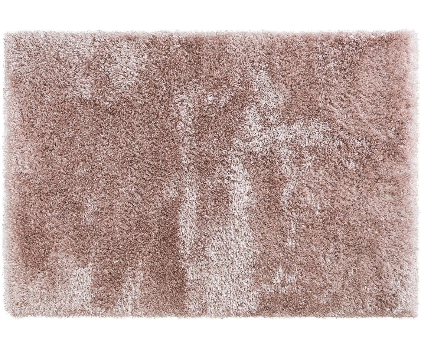 Glanzend hoogpolig vloerkleed Lea, 50% polyester, 50% polypropyleen, Roze, B 140 x L 200 cm (maat S)
