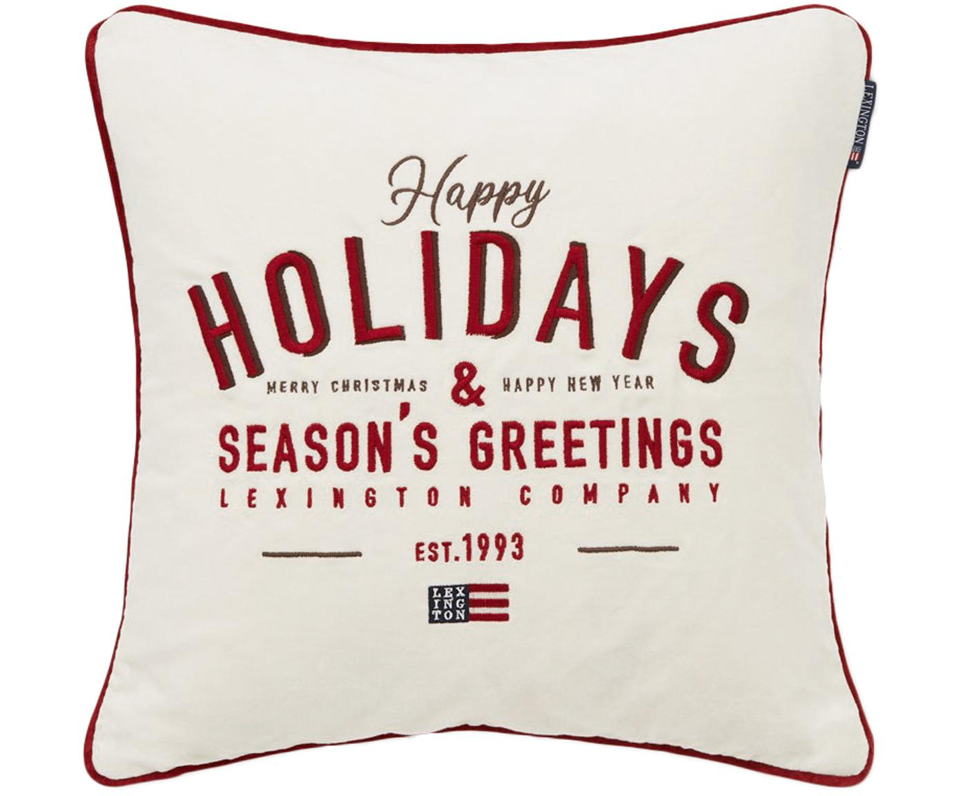Federa in velluto Happy Holidays, Cotone, Bianco, rosso, Larg. 50 x Lung. 50 cm