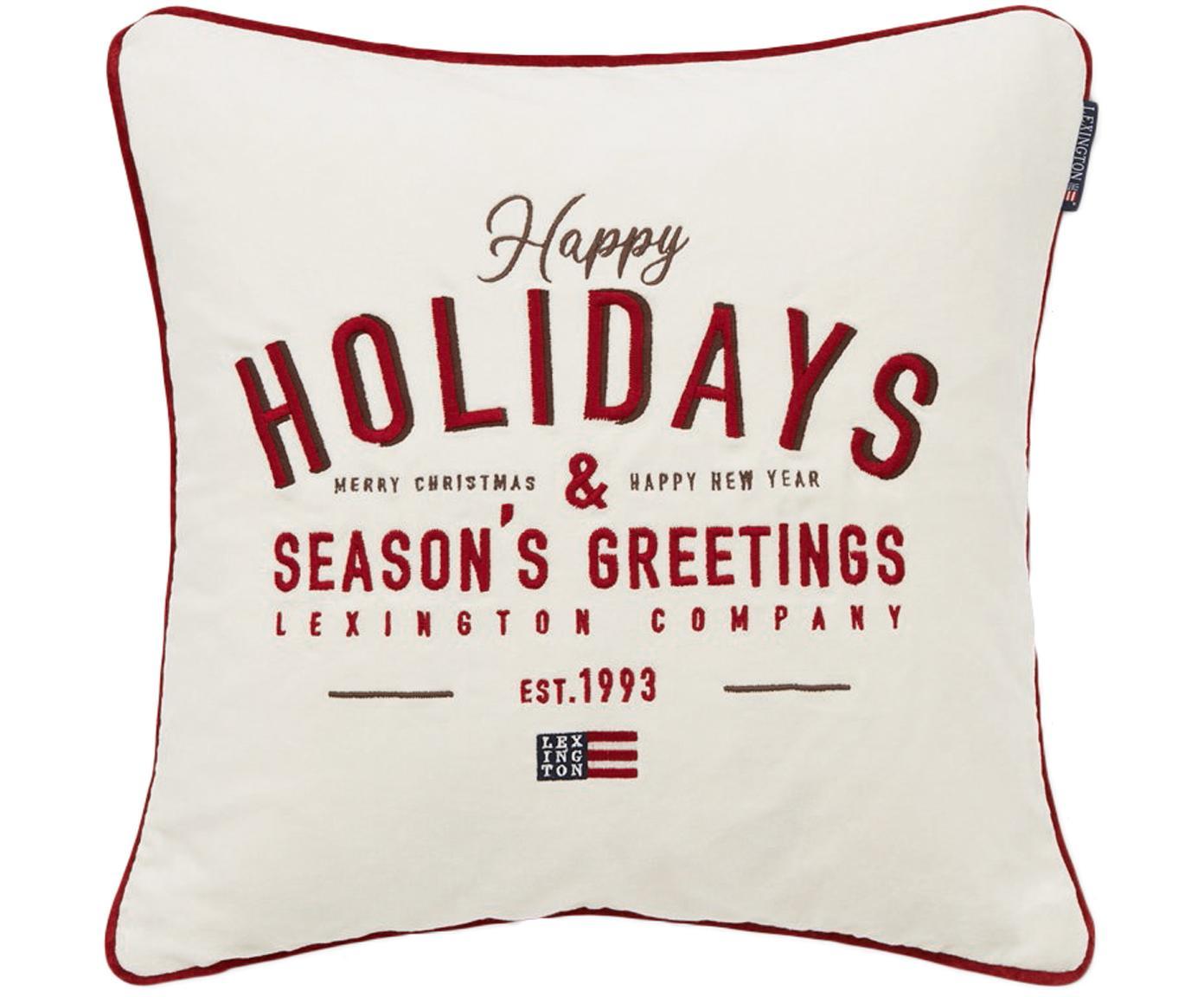 Geborduurde fluwelen kussenhoes Happy Holidays, Katoenfluweel, Wit, rood, 50 x 50 cm