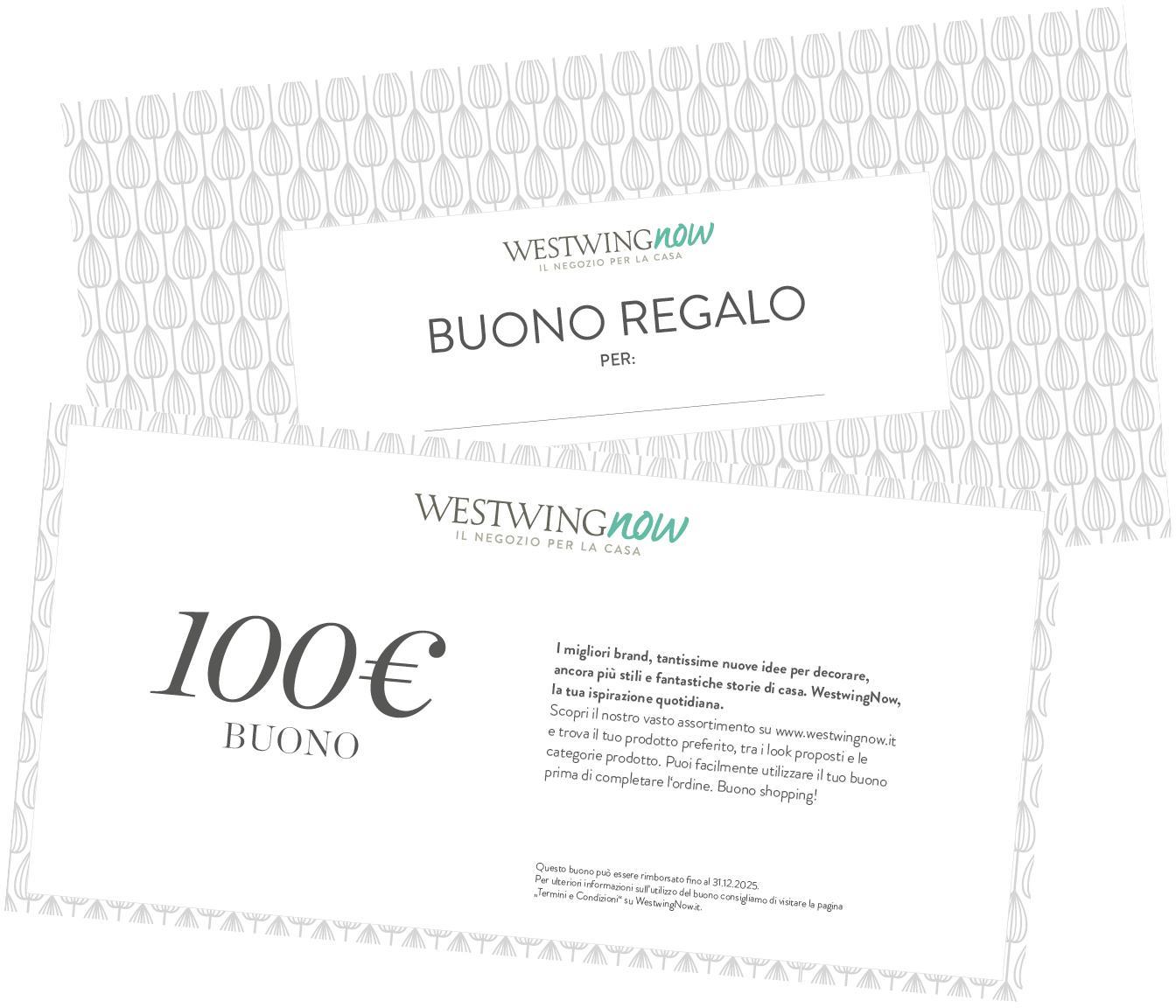 Buono regalo, Coupon stampato su carta di alta qualità e con busta propria, Bianco, 100