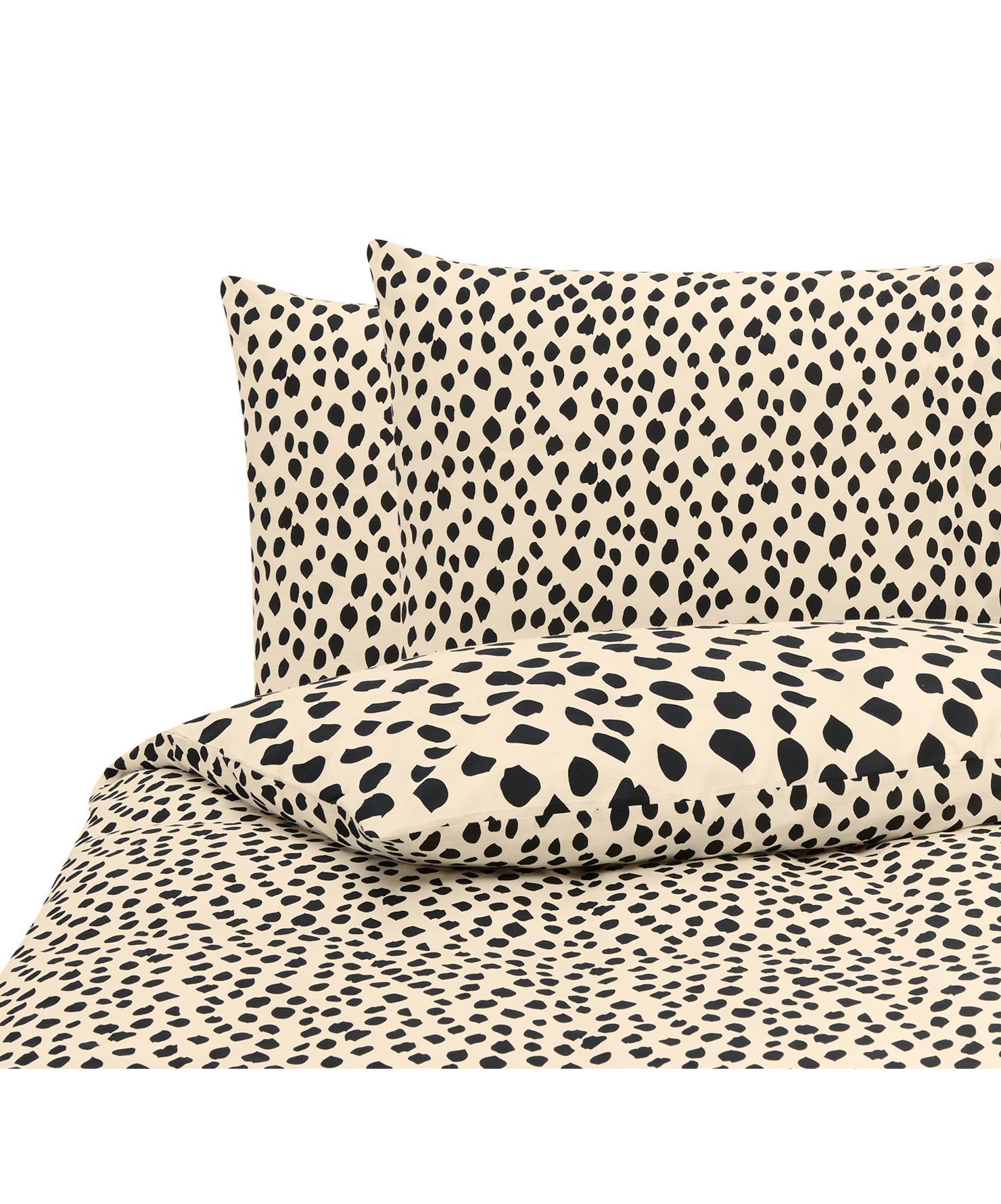 Dekbedovertrek Go Wild, Katoen, Crèmekleurig, zwart, 200 x 220 cm