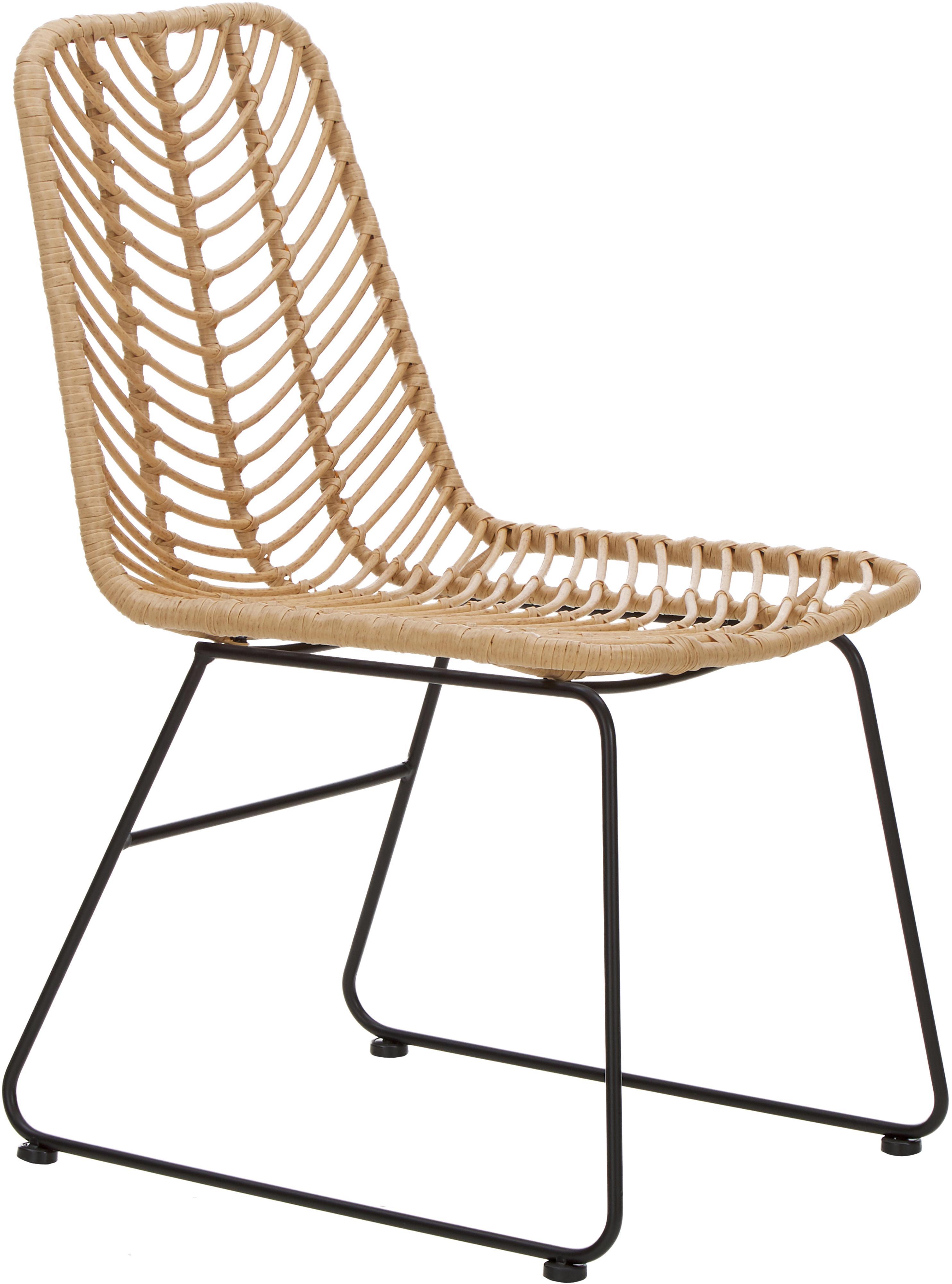 Sedia Providencia, Seduta: treccia di polietilene, Cornice: metallo verniciato a polv, Marrone, gambe nero, Larg. 44 x Prof. 55 cm