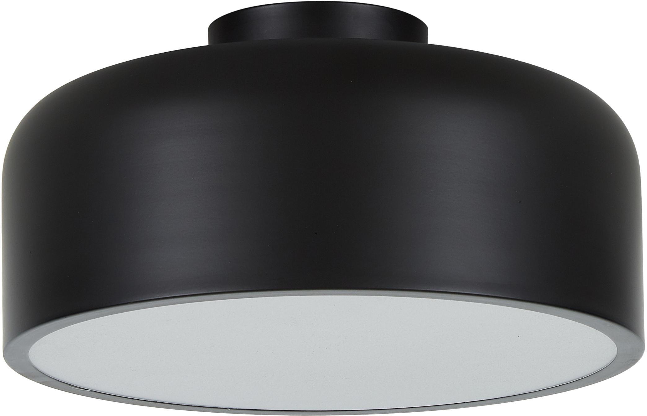 Plafondlamp Ole, Diffuser: acryl, Mat zwart, Ø 35 x H 18 cm