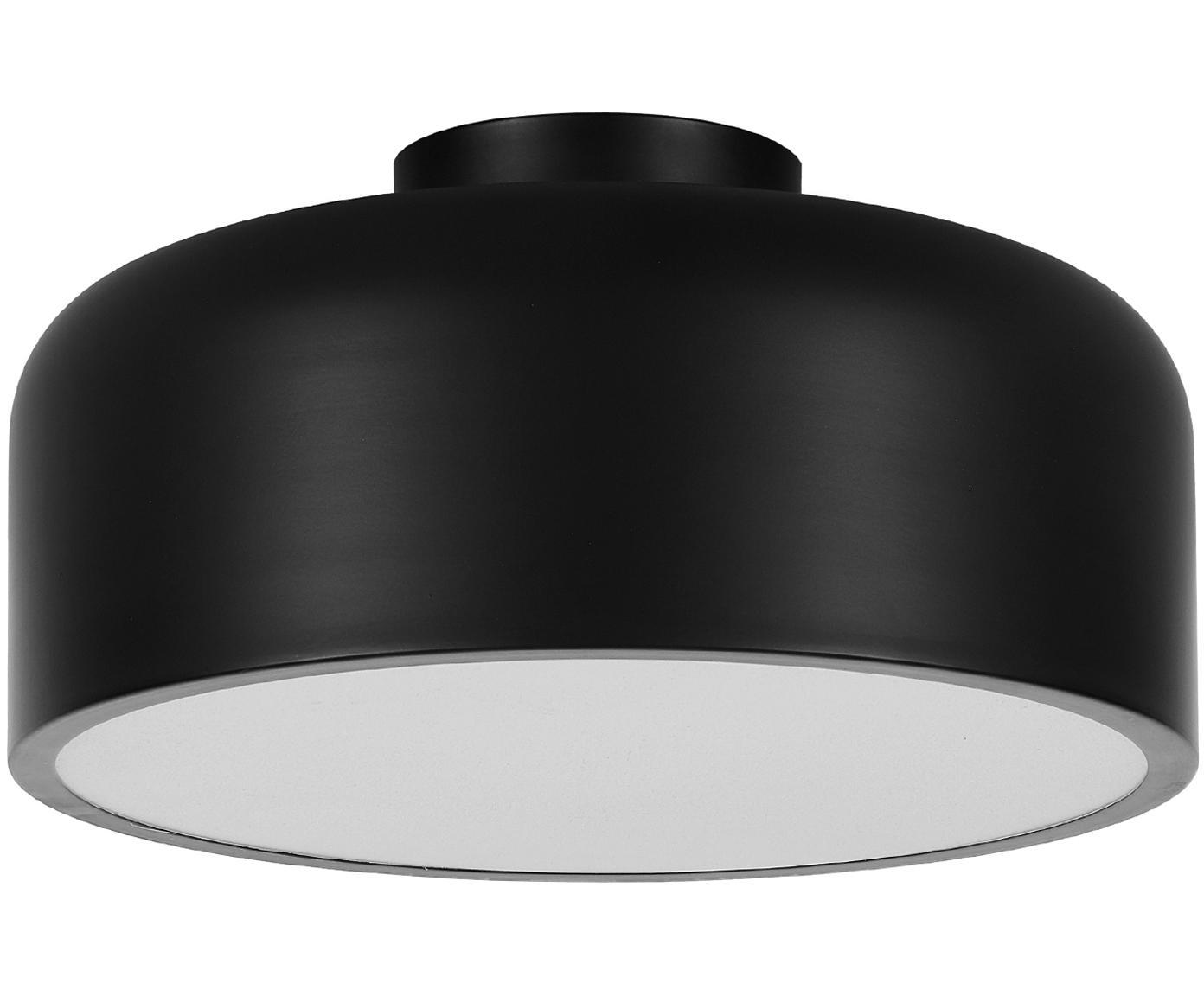 Plafón Ole, estilo escandinavo, Negro mate, Ø 35 x Al 18 cm
