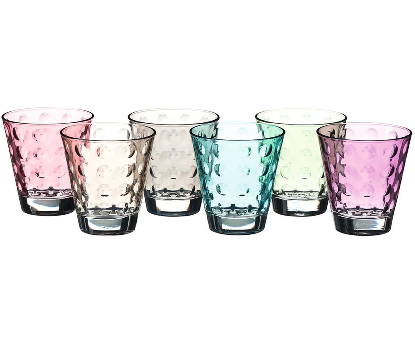 Vasos con relive Gunnar, 6uds., Vidrio, Multicolor, Ø 9 x Al 9 cm