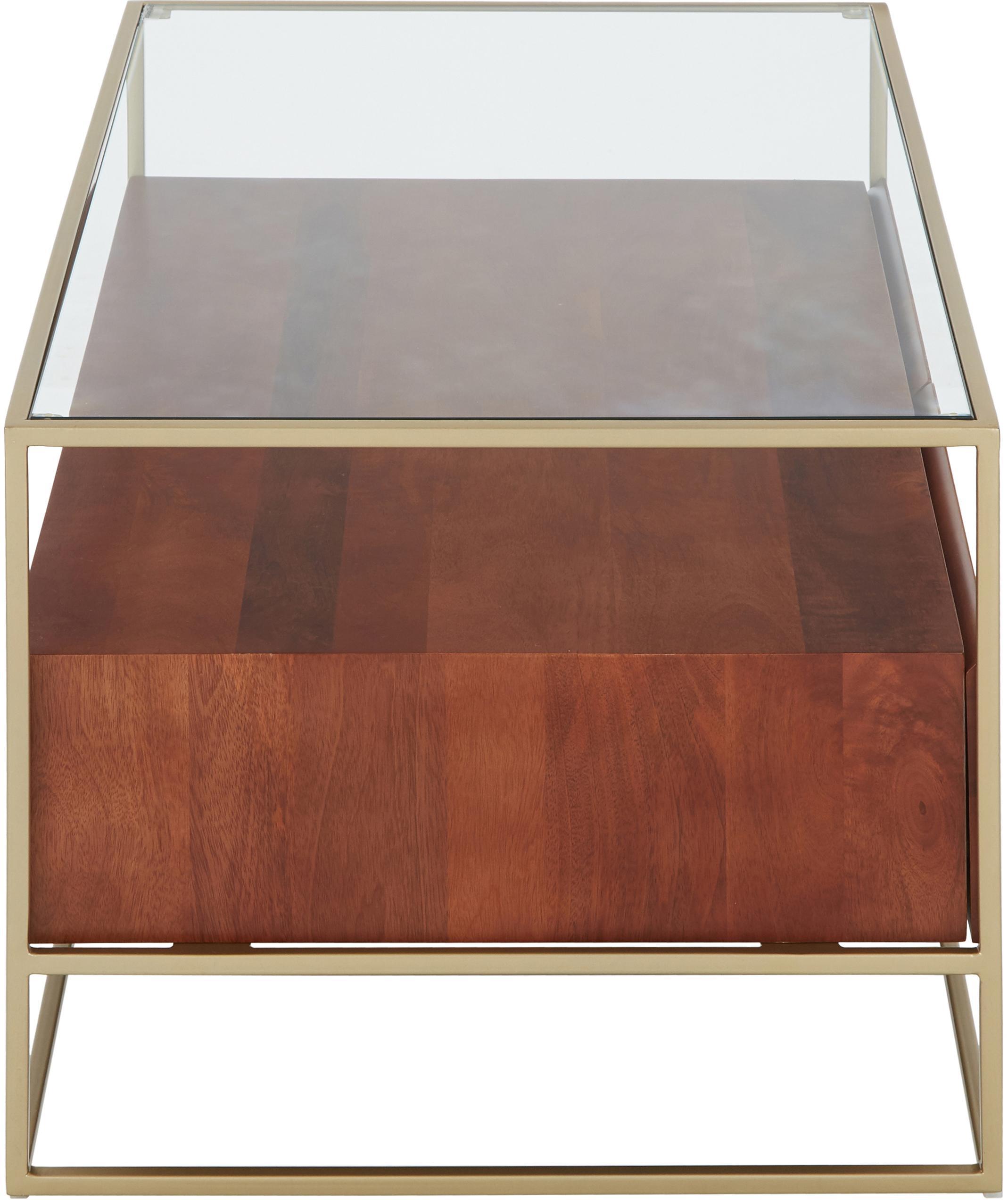 Mesa de centro con cajones Theodor, Tablero: vidrio, Estructura: metal con pintura en polv, Transparente, madera de mango, dorado, An 100 x Al 45 cm