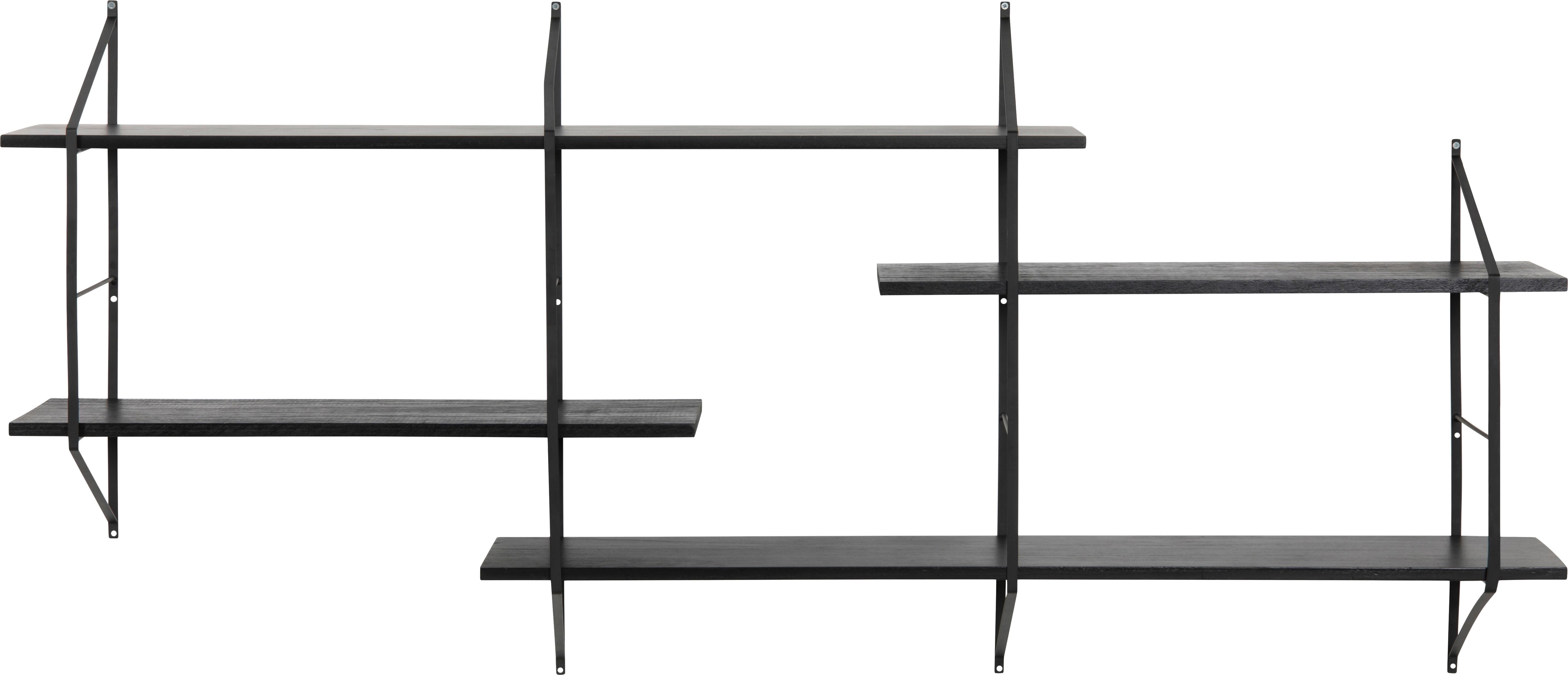 Wandregal Belfast aus Holz und Metall, Gestell: Metall, pulverbeschichtet, Schwarz, 191 x 79 cm