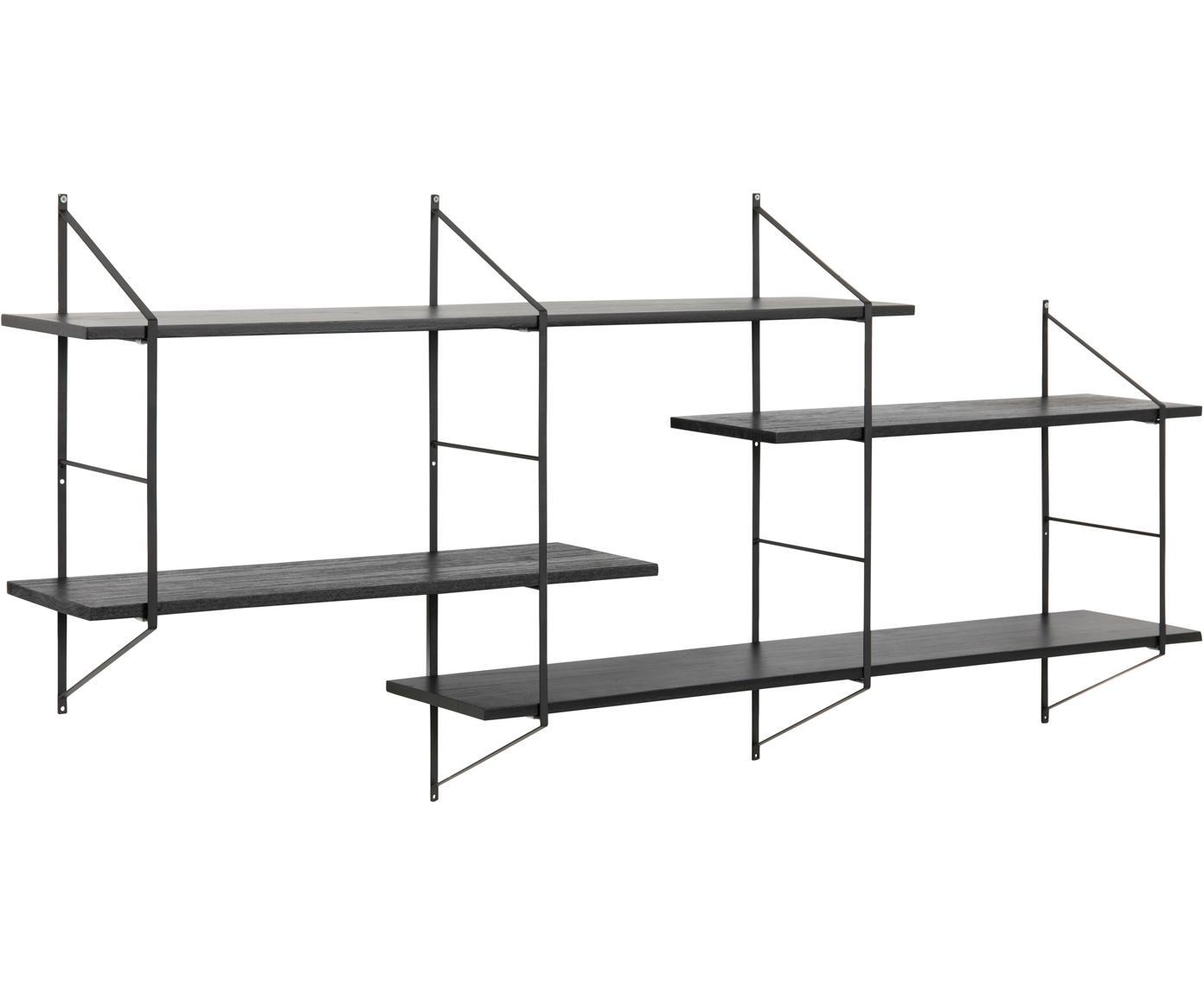 Wandrek Belfast van hout en metaal, Frame: gepoedercoat metaal, Zwart, 191 x 79 cm