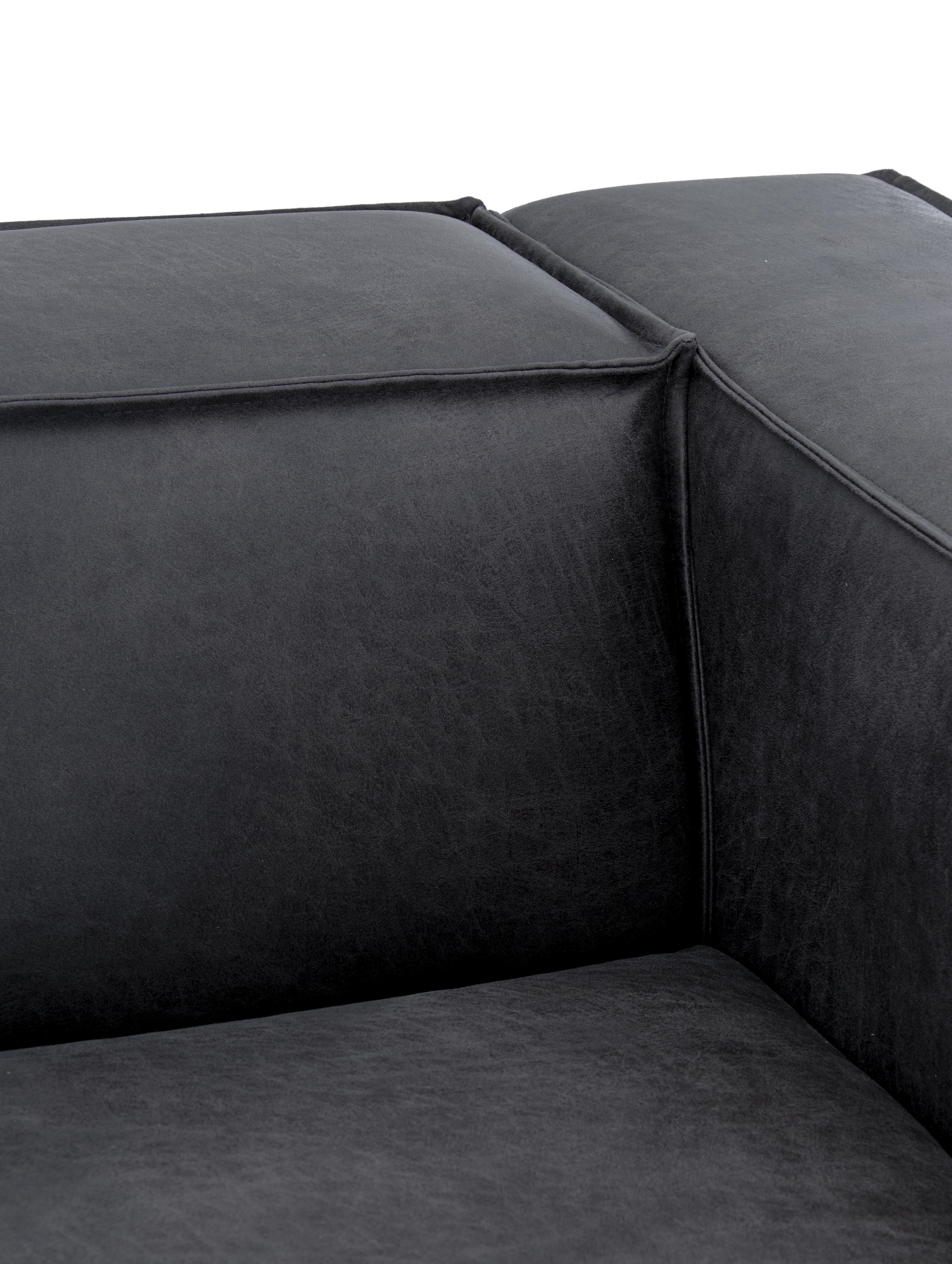 Divano 3 posti in pelle Abigail, Rivestimento: fibra di cuoio (70% pelle, Piedini: acciaio, verniciato, Pelle grigio scuro, Larg. 230 x Prof. 95 cm