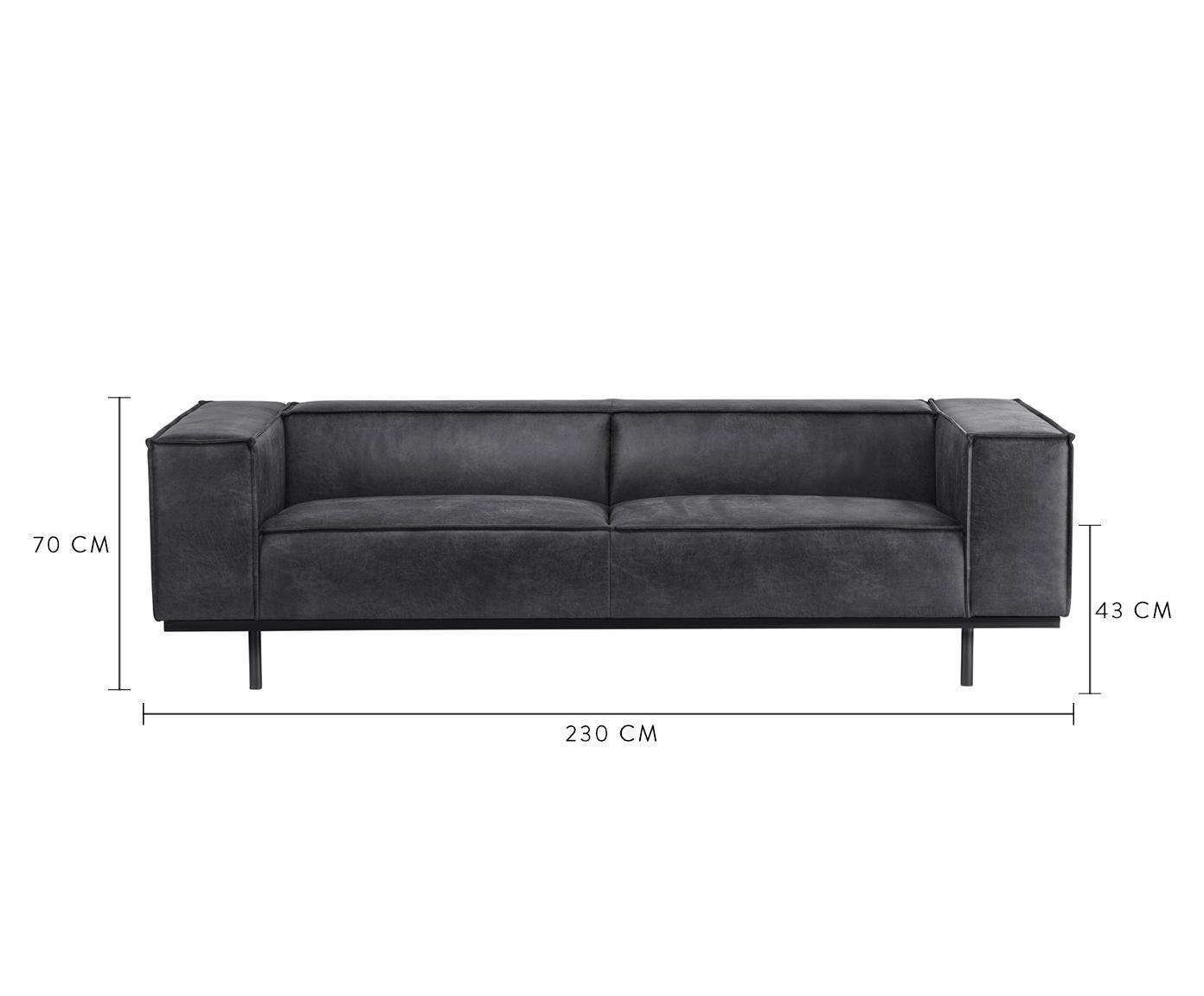 Sofa ze skóry Abigail (3-osobowa), Tapicerka: skóra naturalna (70% skór, Nogi: stal lakierowana, Ciemno szara skóra, S 230 x G 95 cm
